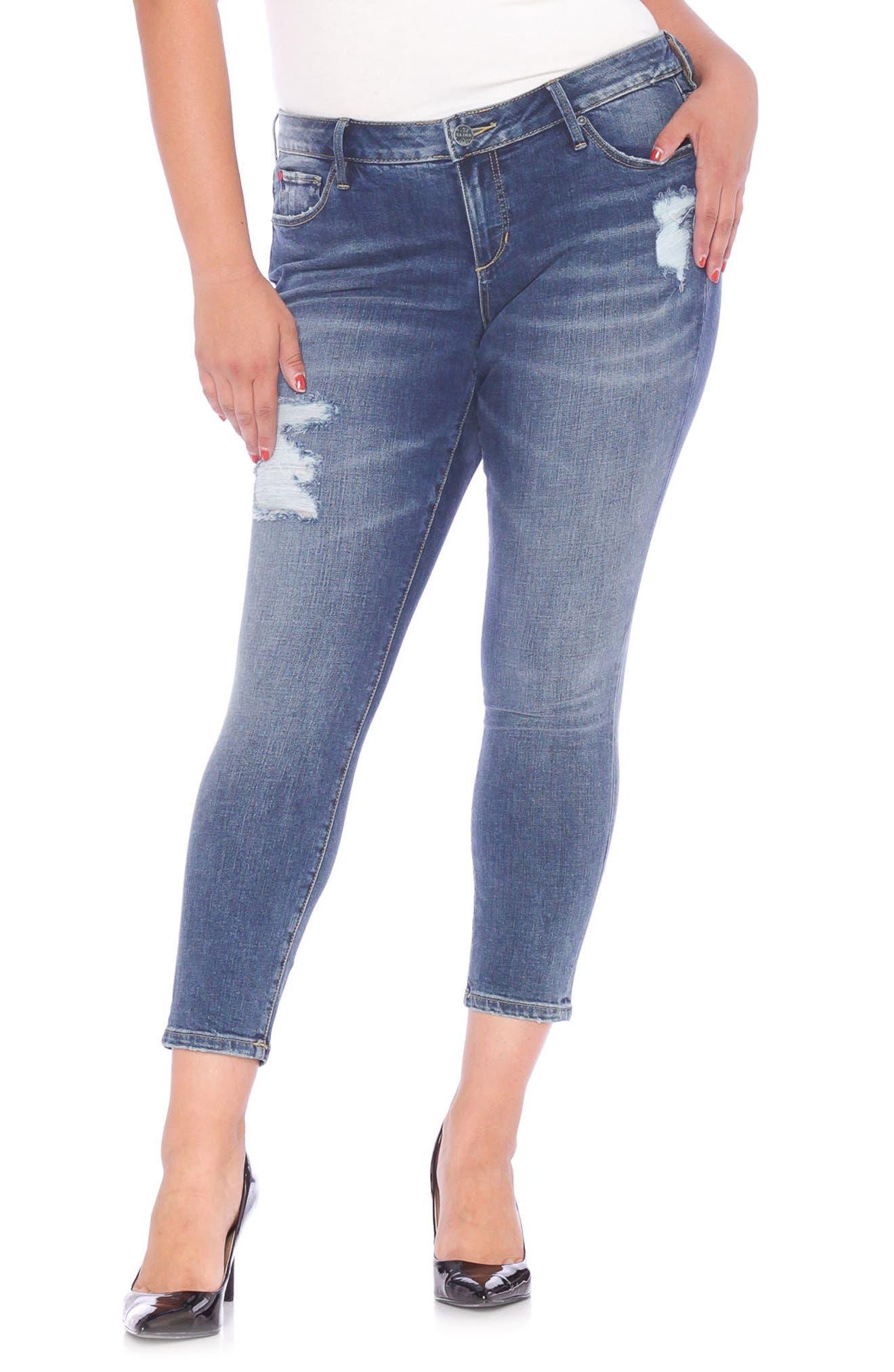 SLINK Jeans Distressed Ankle Skinny Jeans (Annie) (Plus Size)