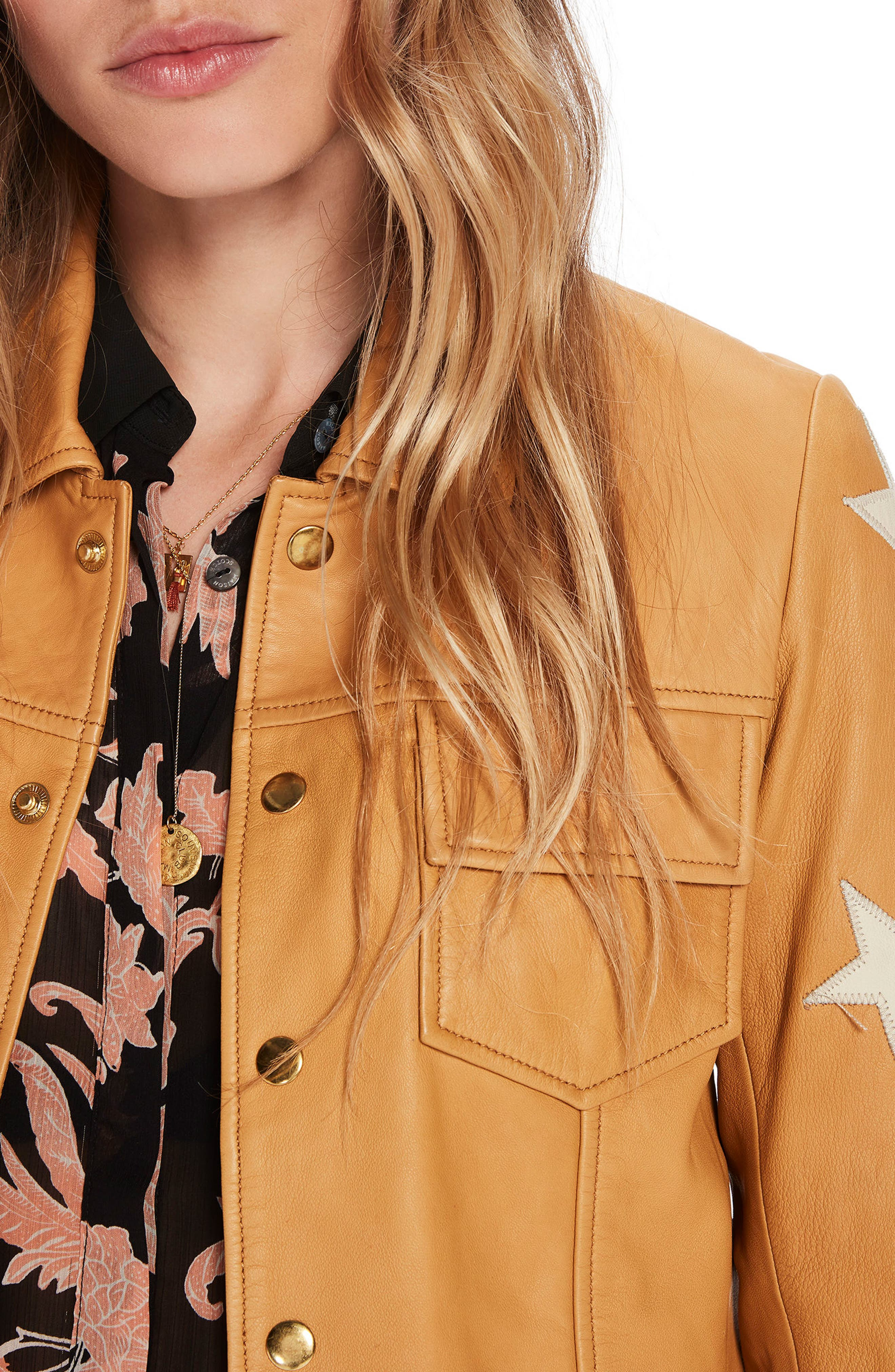 Sheepskin Leather Shirt Jacket,                             Alternate thumbnail 4, color,                             Color 1942 Sahara