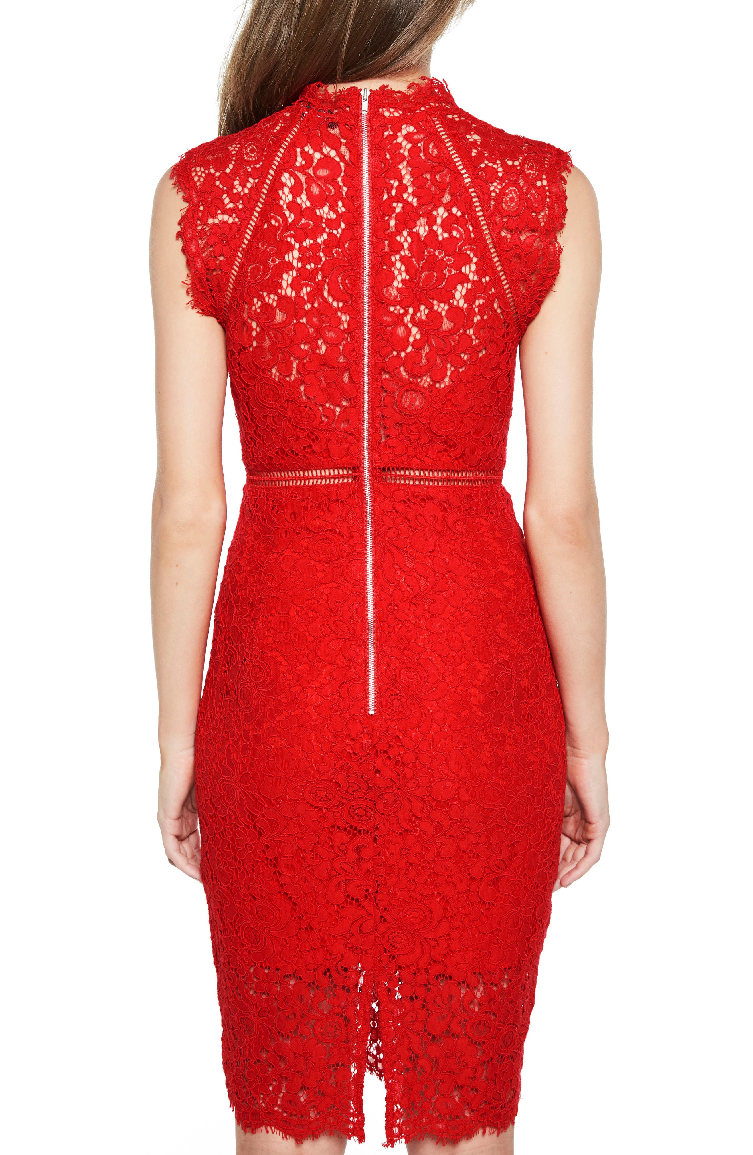 Lace Sheath Dress,                             Alternate thumbnail 2, color,                             Red