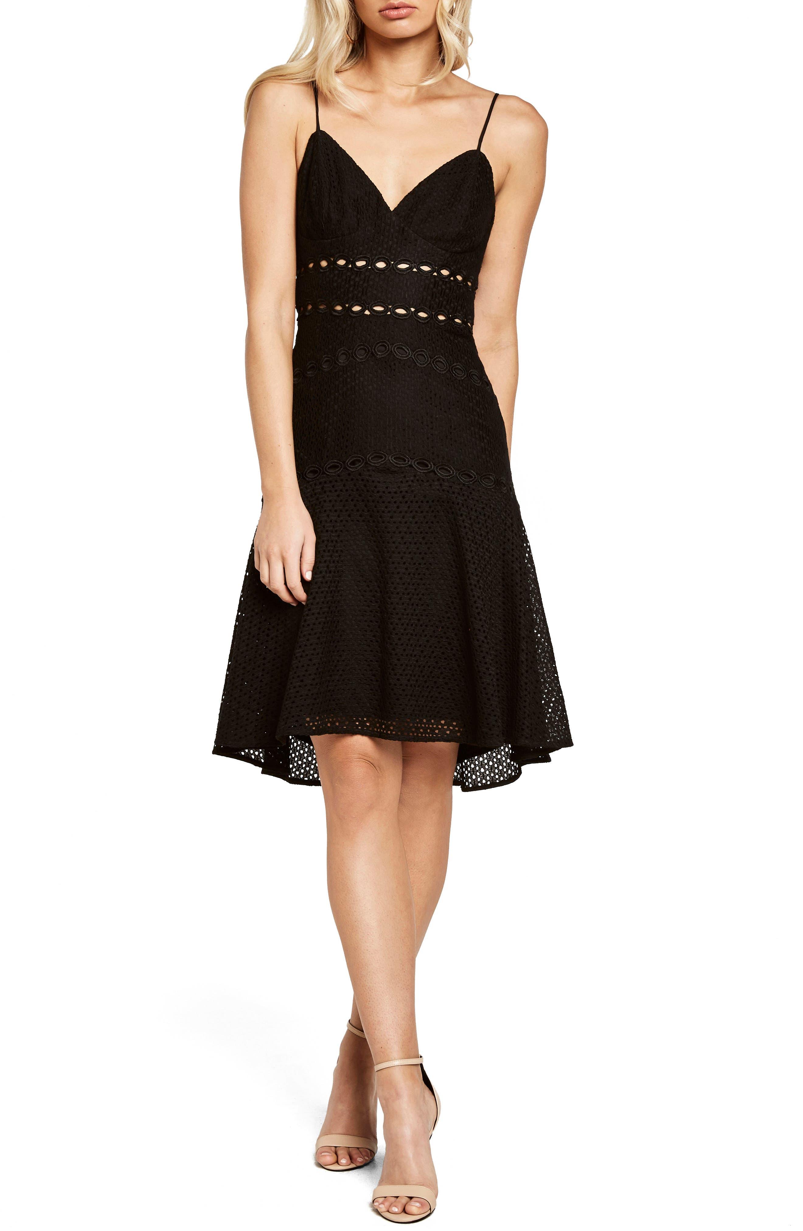 Ariana Fit & Flare Dress,                             Main thumbnail 1, color,                             Black