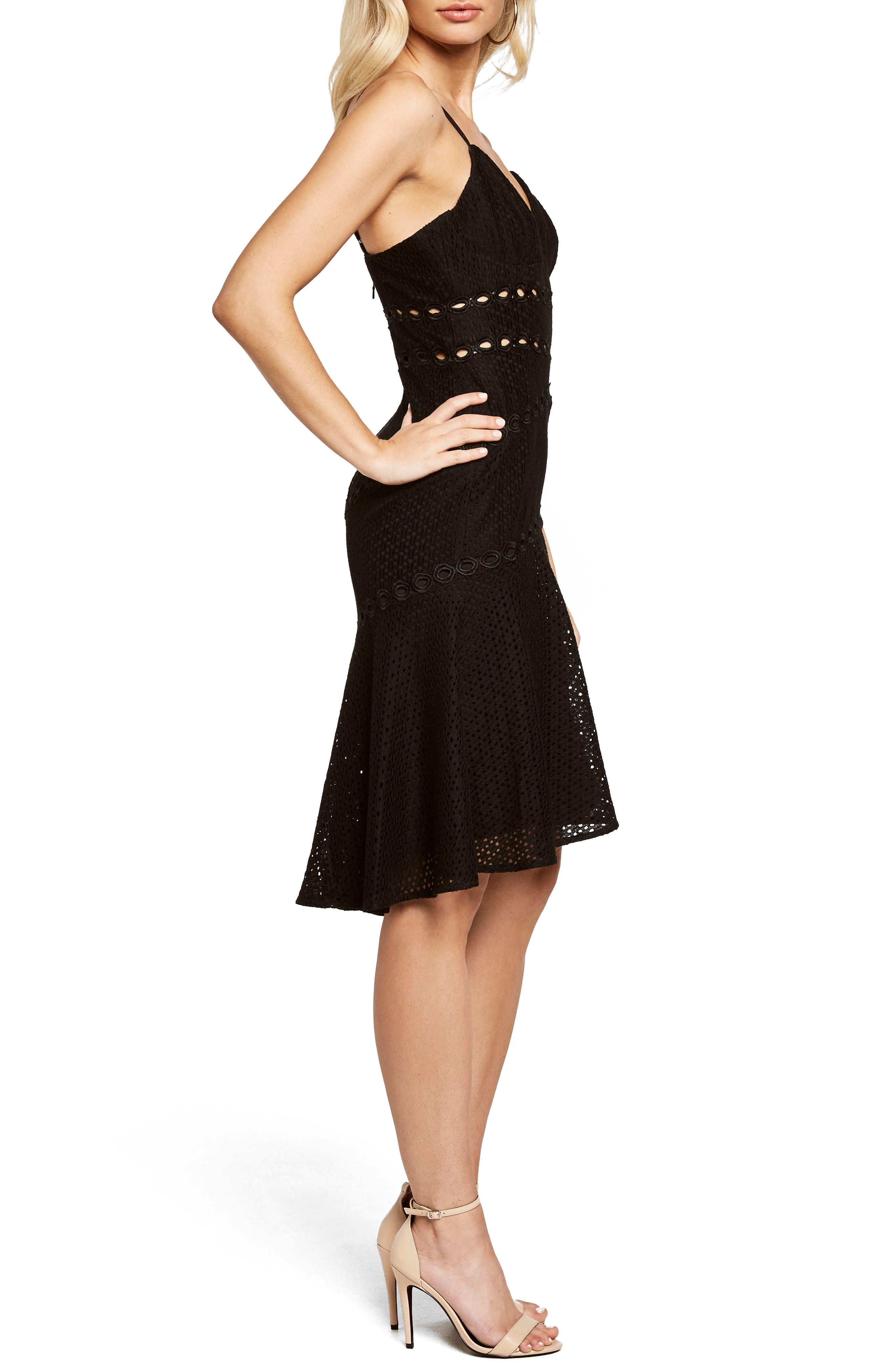 Ariana Fit & Flare Dress,                             Alternate thumbnail 3, color,                             Black