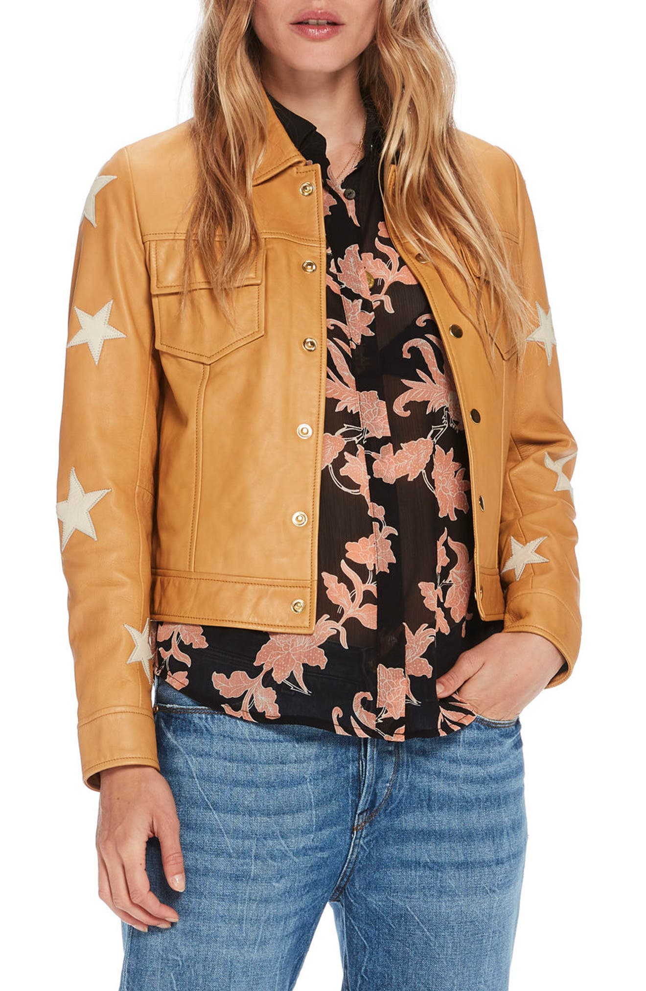Sheepskin Leather Shirt Jacket,                             Main thumbnail 1, color,                             Color 1942 Sahara
