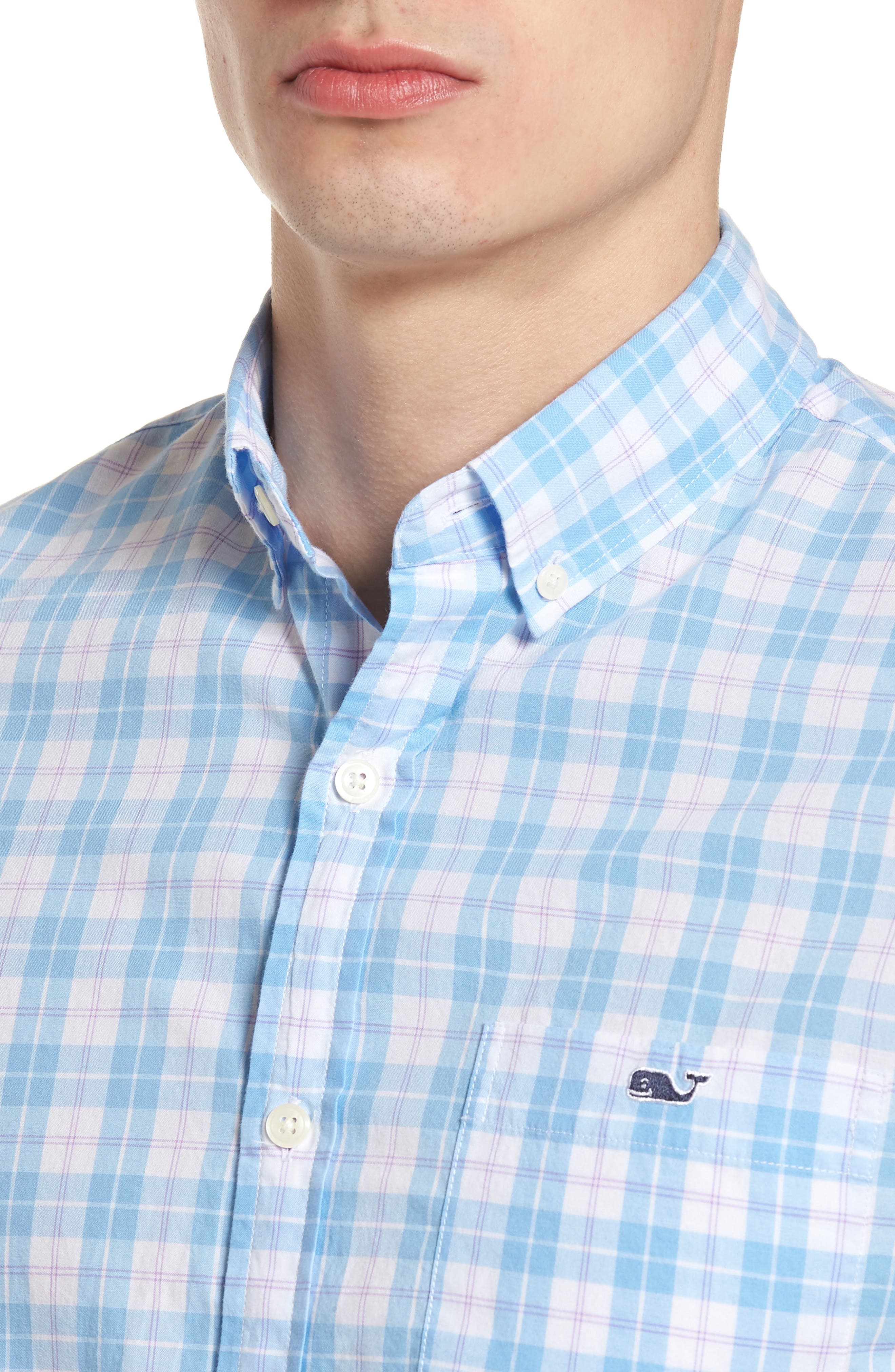 Shallow Sea Slim Fit Plaid Sport Shirt,                             Alternate thumbnail 4, color,                             Ocean Breeze