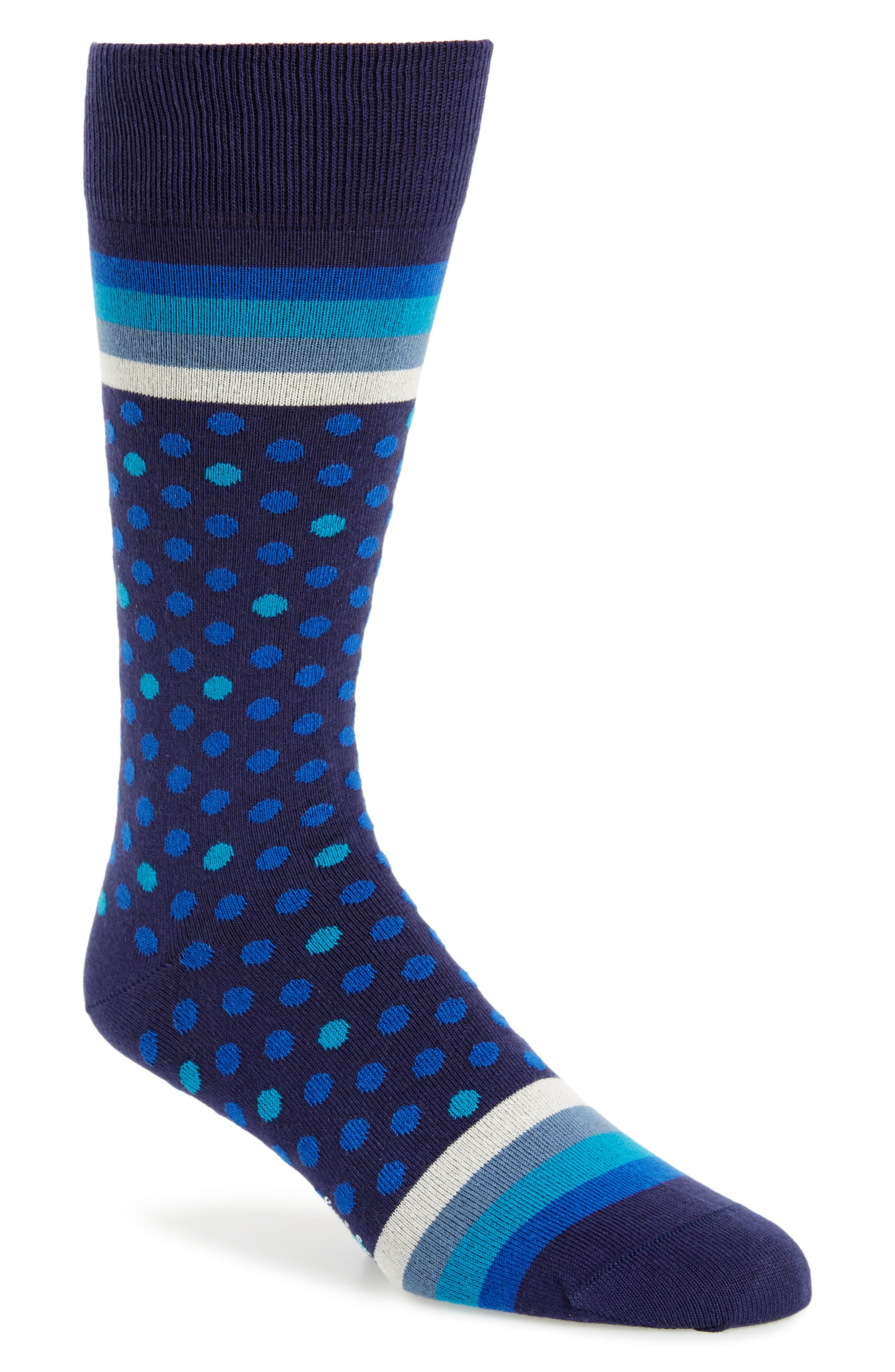 Dot & Stripe Socks,                         Main,                         color, Blue