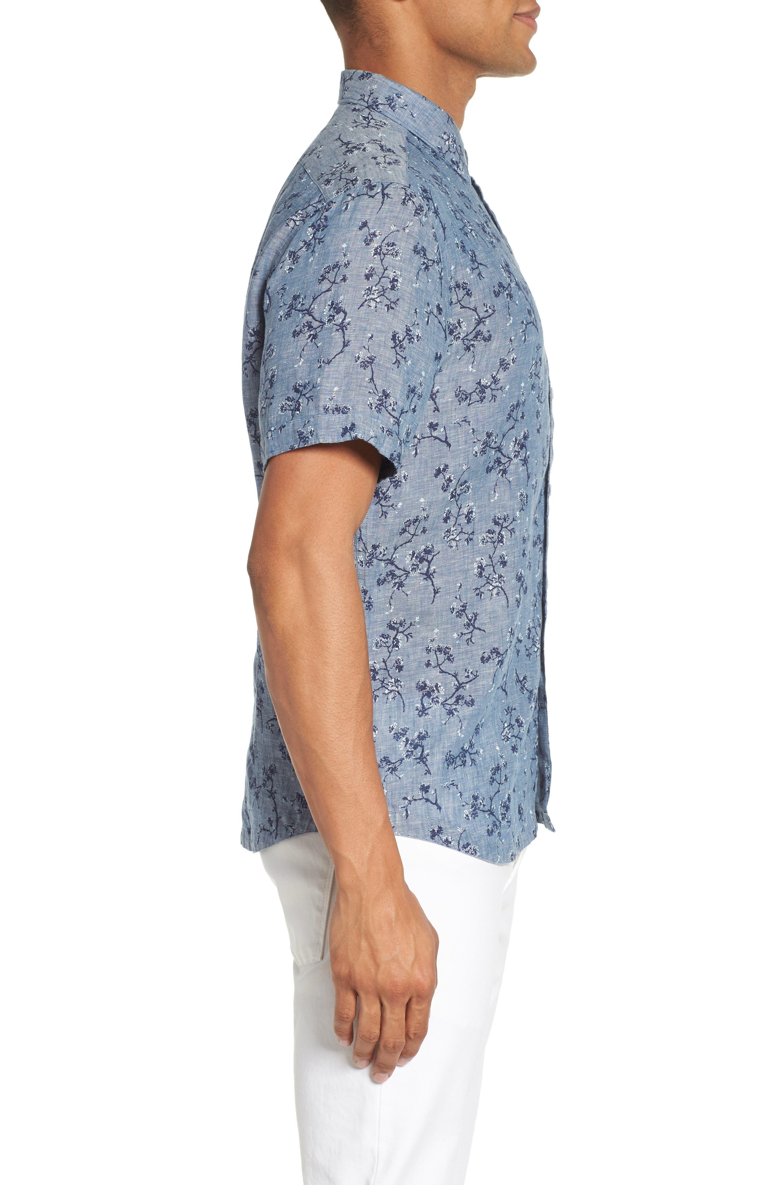Trim Fit Floral Sport Shirt,                             Alternate thumbnail 3, color,                             Indigo
