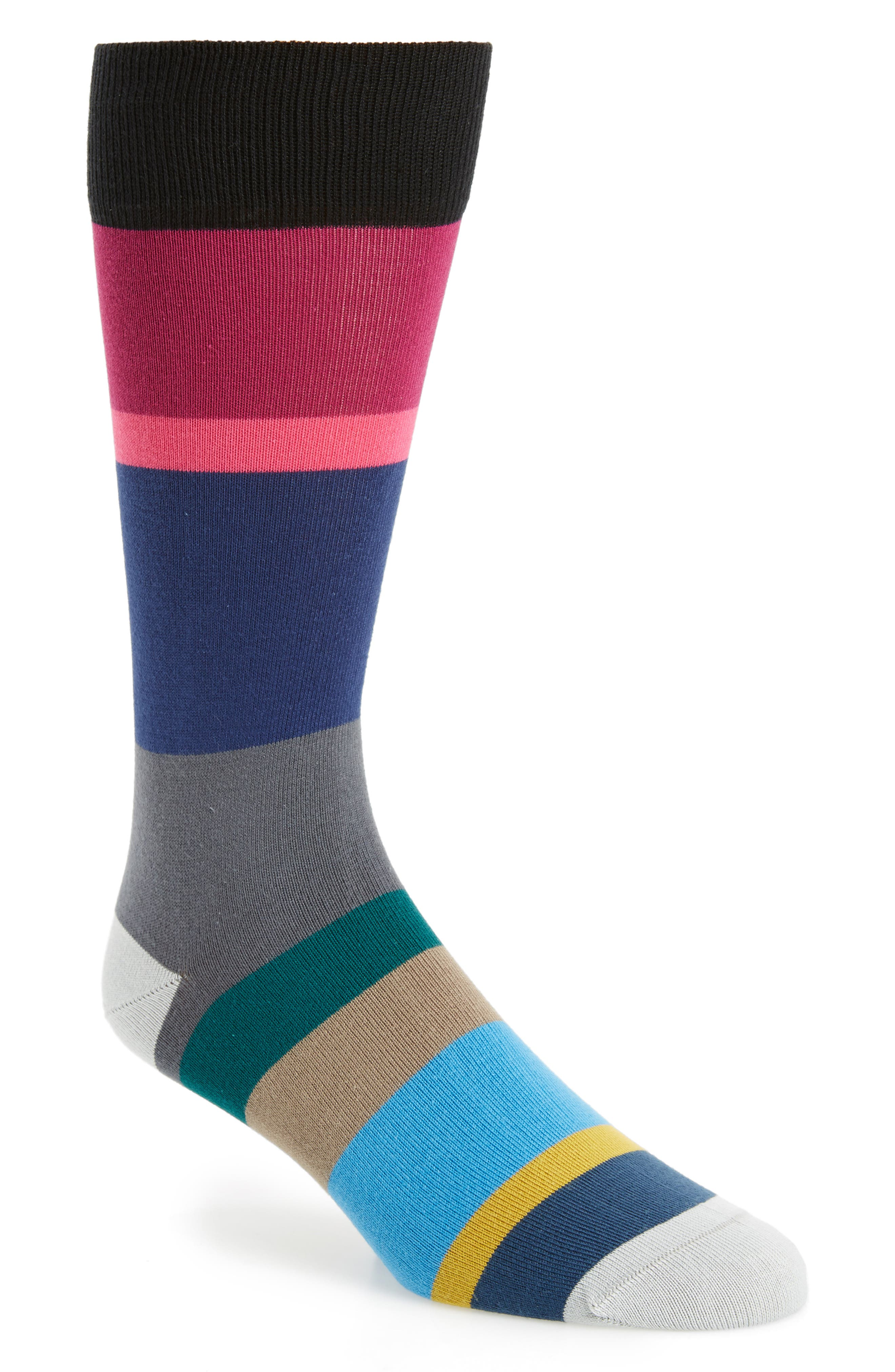 Jolly Colorblock Socks,                             Main thumbnail 1, color,                             Blue/ Grey Multi