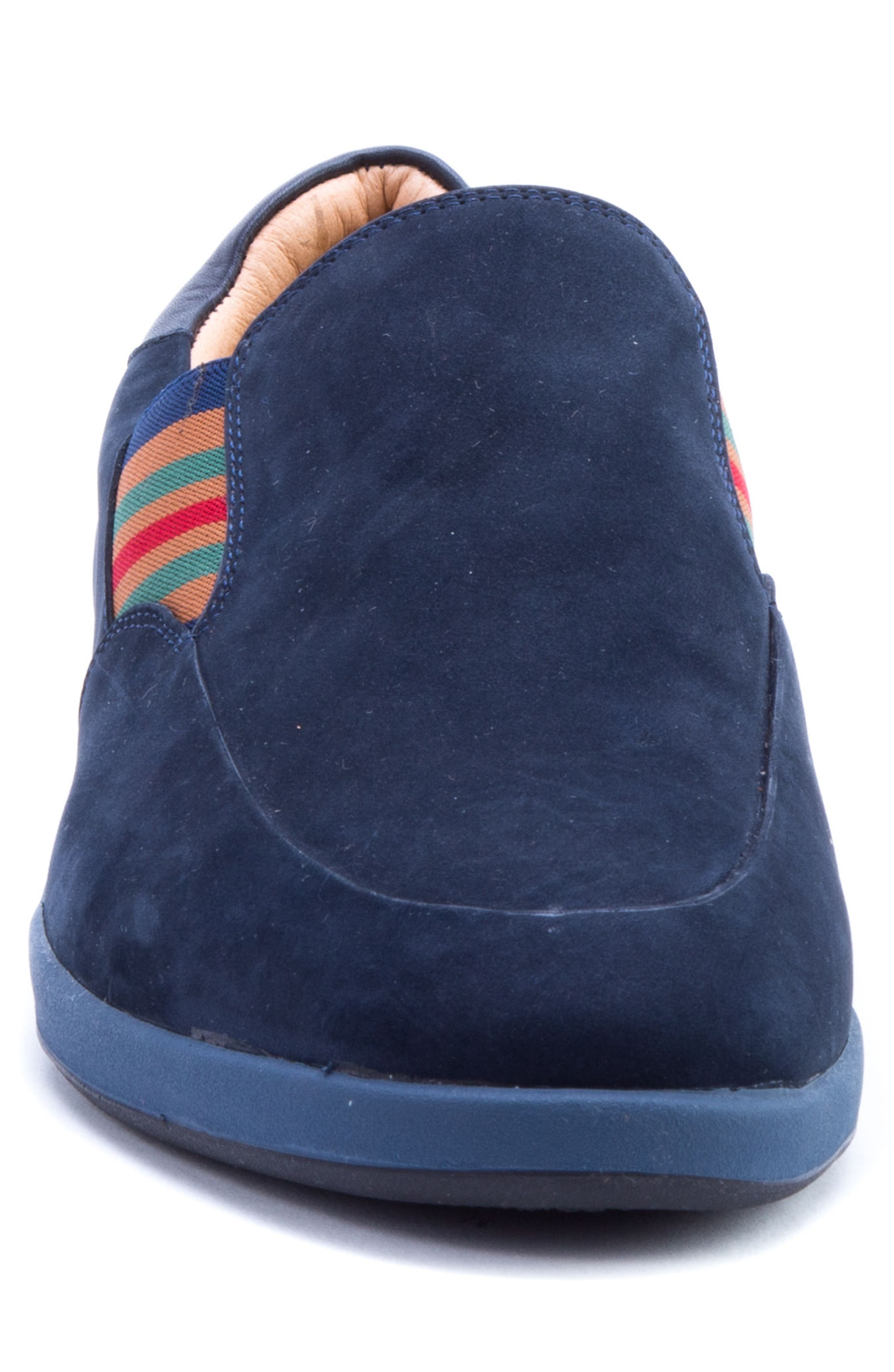 Avenida Striped Slip-On,                             Alternate thumbnail 4, color,                             Navy Suede