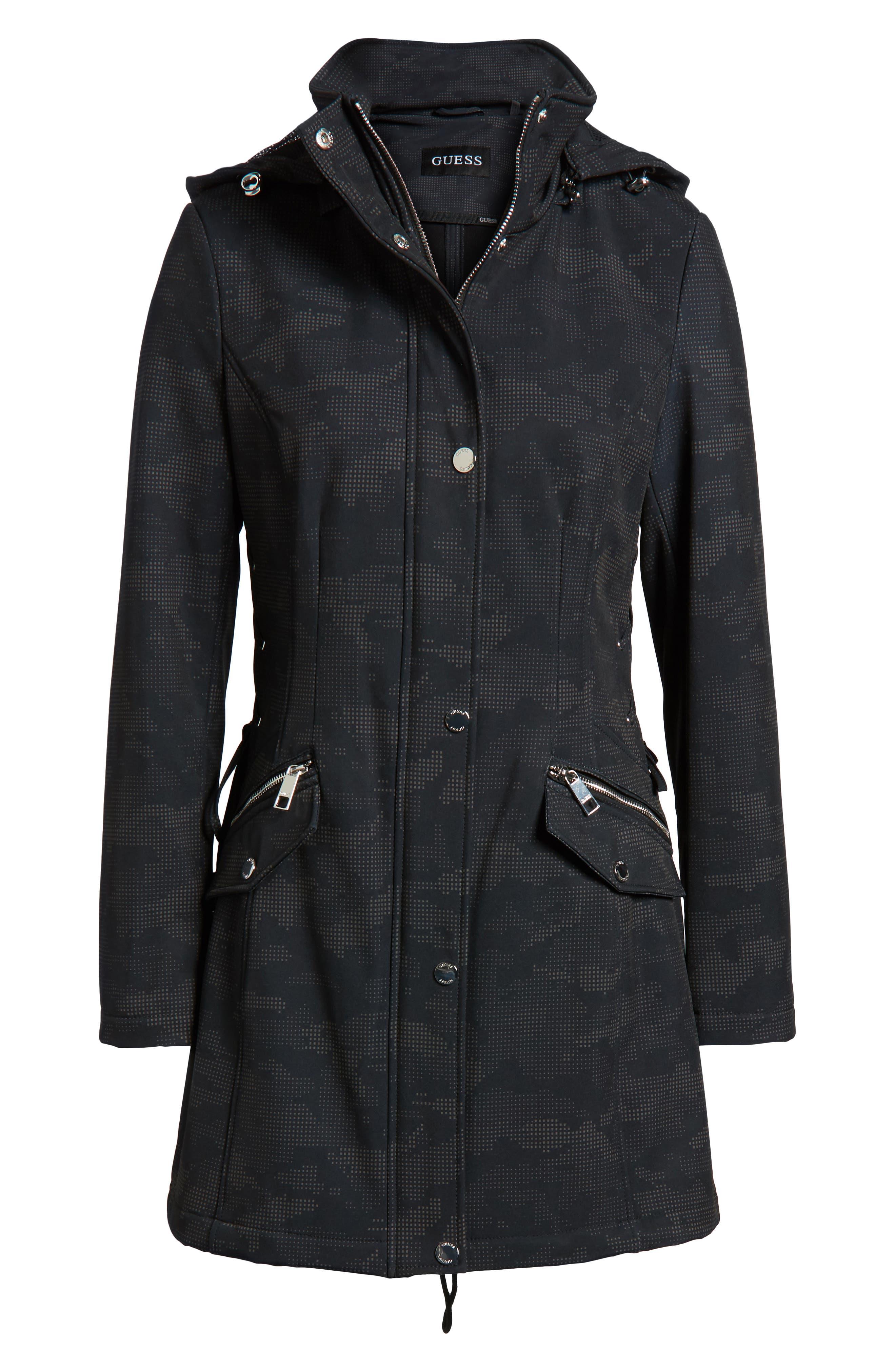 Lace-Up Hooded Jacket,                             Alternate thumbnail 7, color,                             Black Print