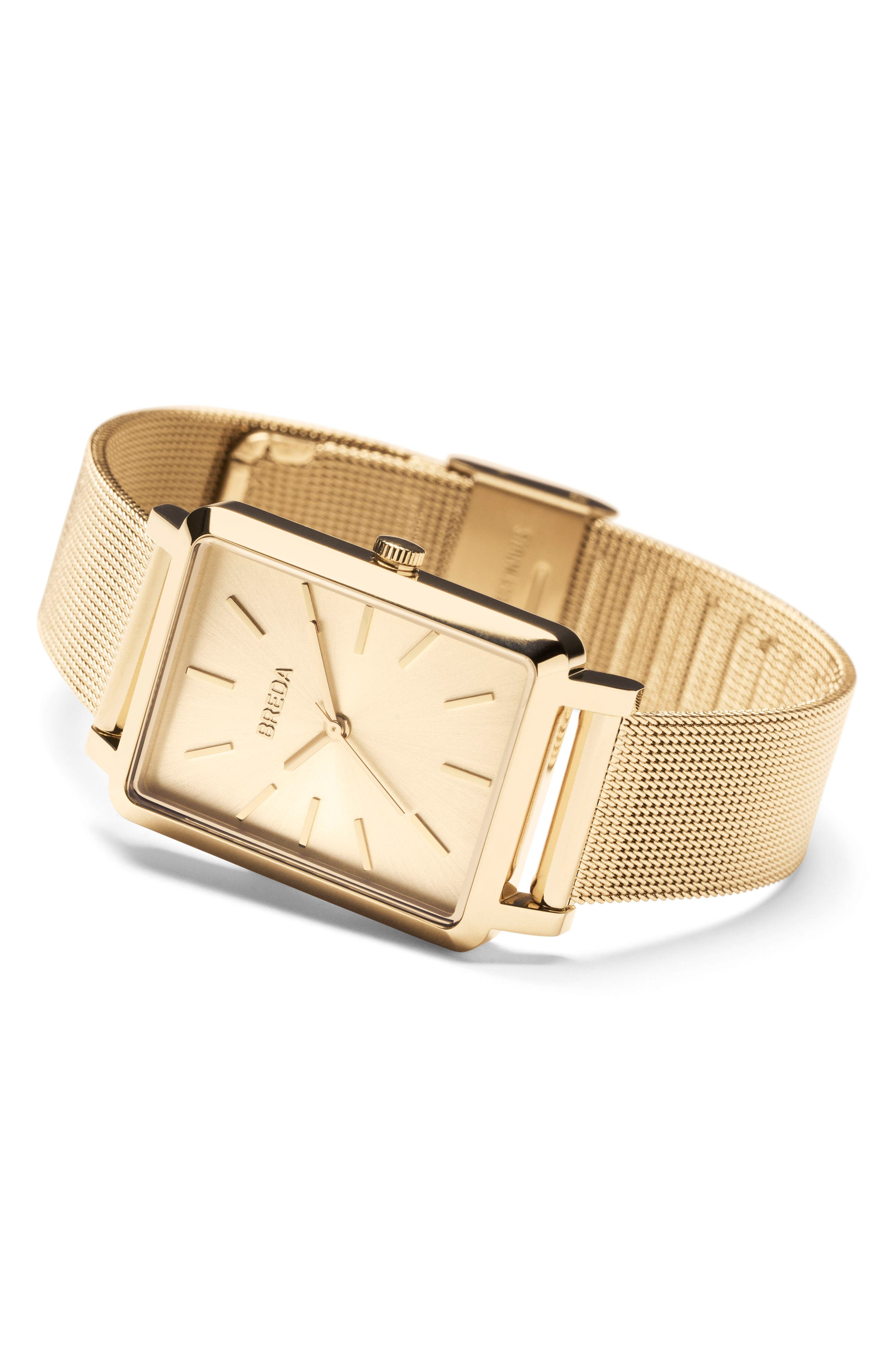 Baer Mesh Strap Watch, 26mm,                             Alternate thumbnail 3, color,                             Gold