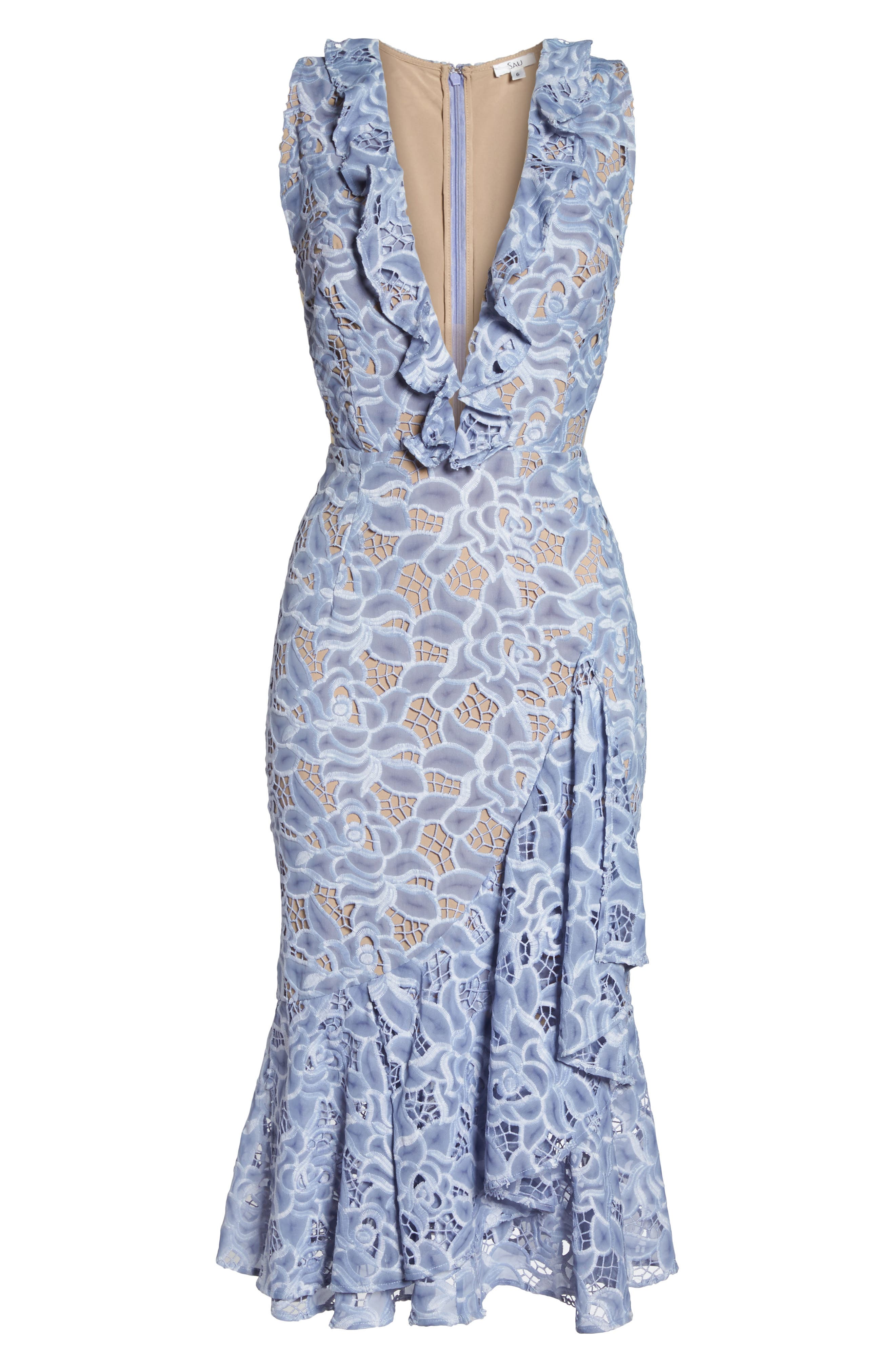 Amelia Ruffle Lace Dress,                             Alternate thumbnail 6, color,                             Cornflower Blue