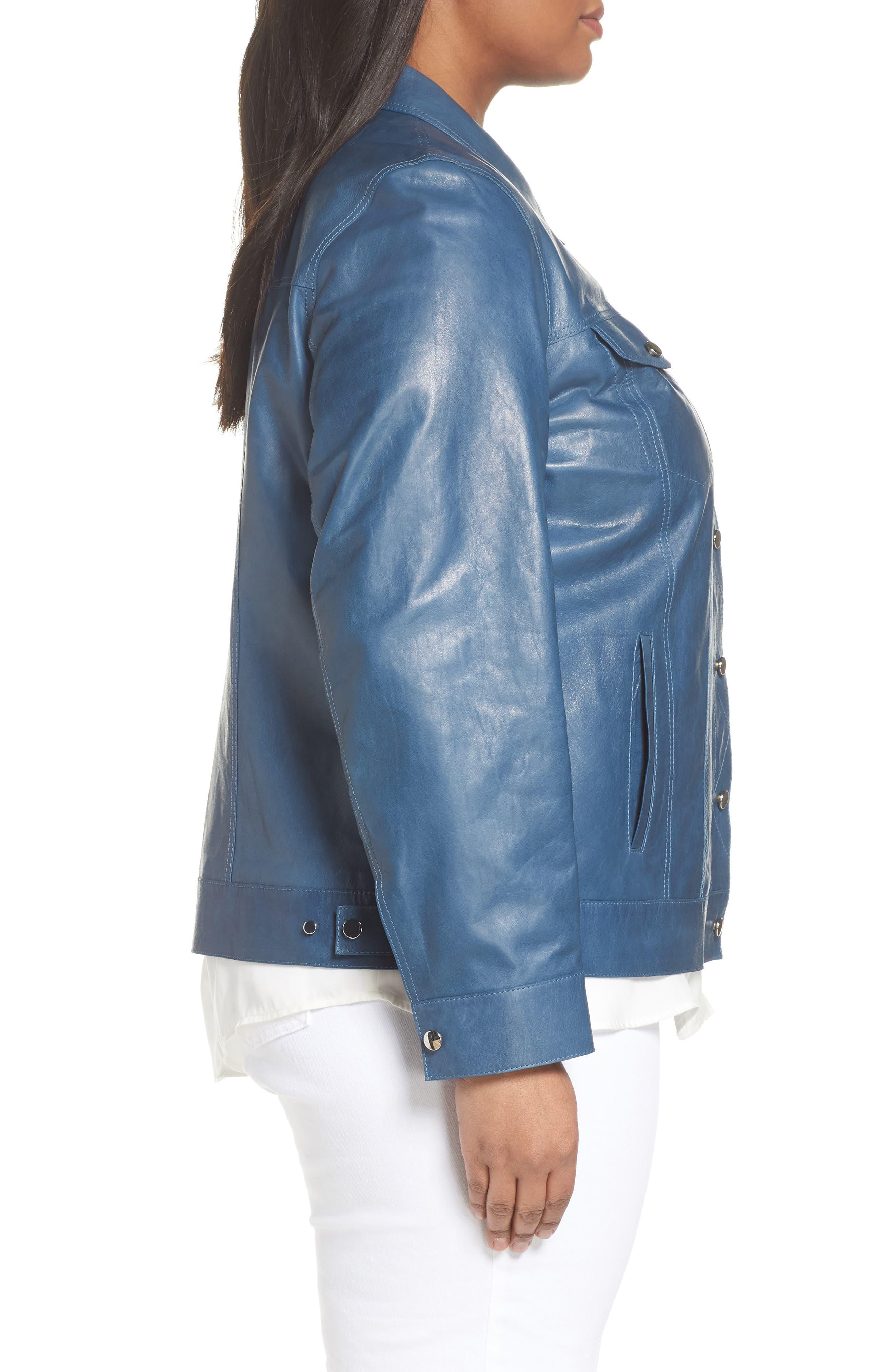 Destiny Leather Jacket,                             Alternate thumbnail 3, color,                             Placid Blue