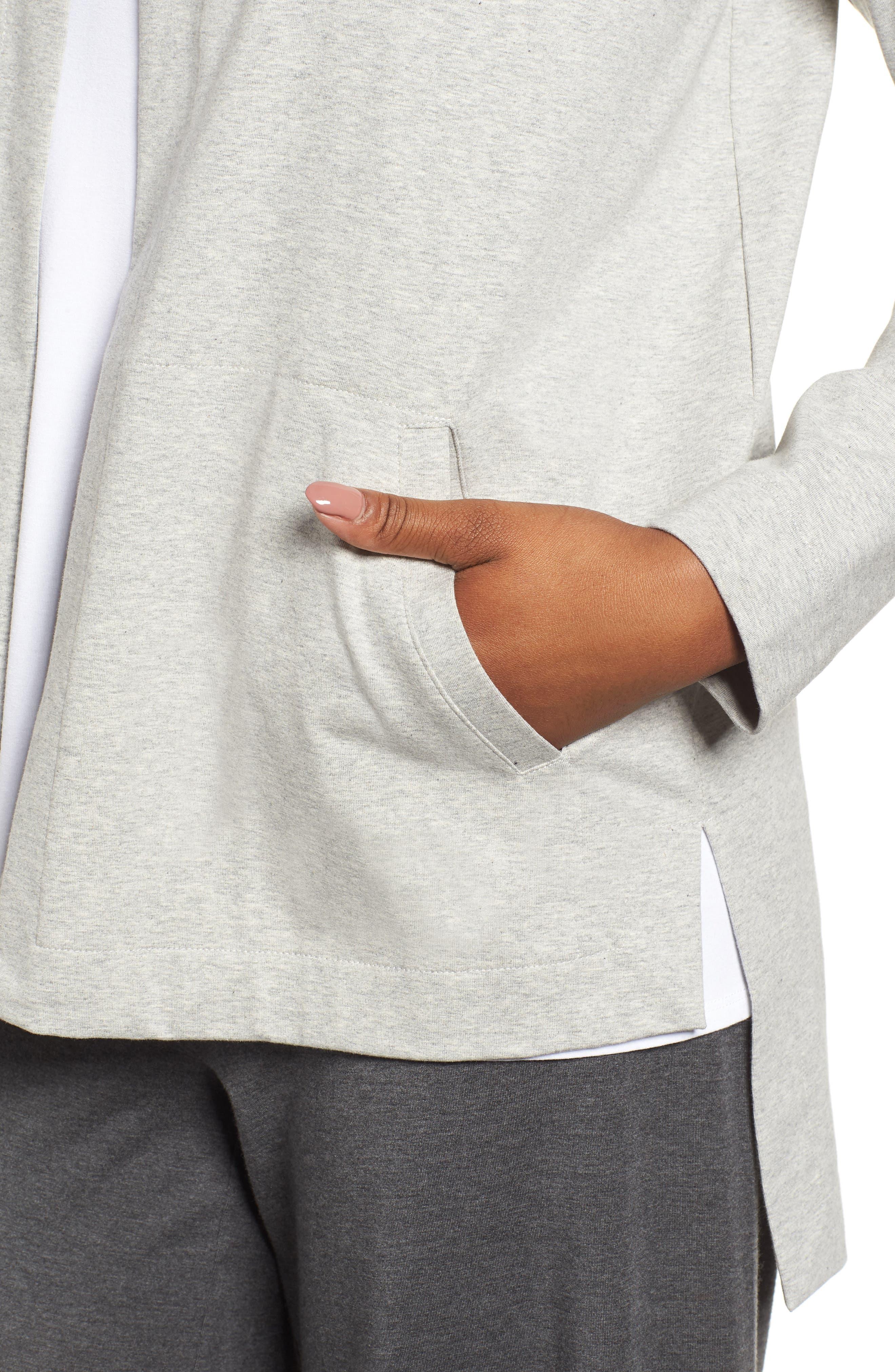 Hooded Stretch Organic Cotton Cardigan,                             Alternate thumbnail 4, color,                             Dark Pearl