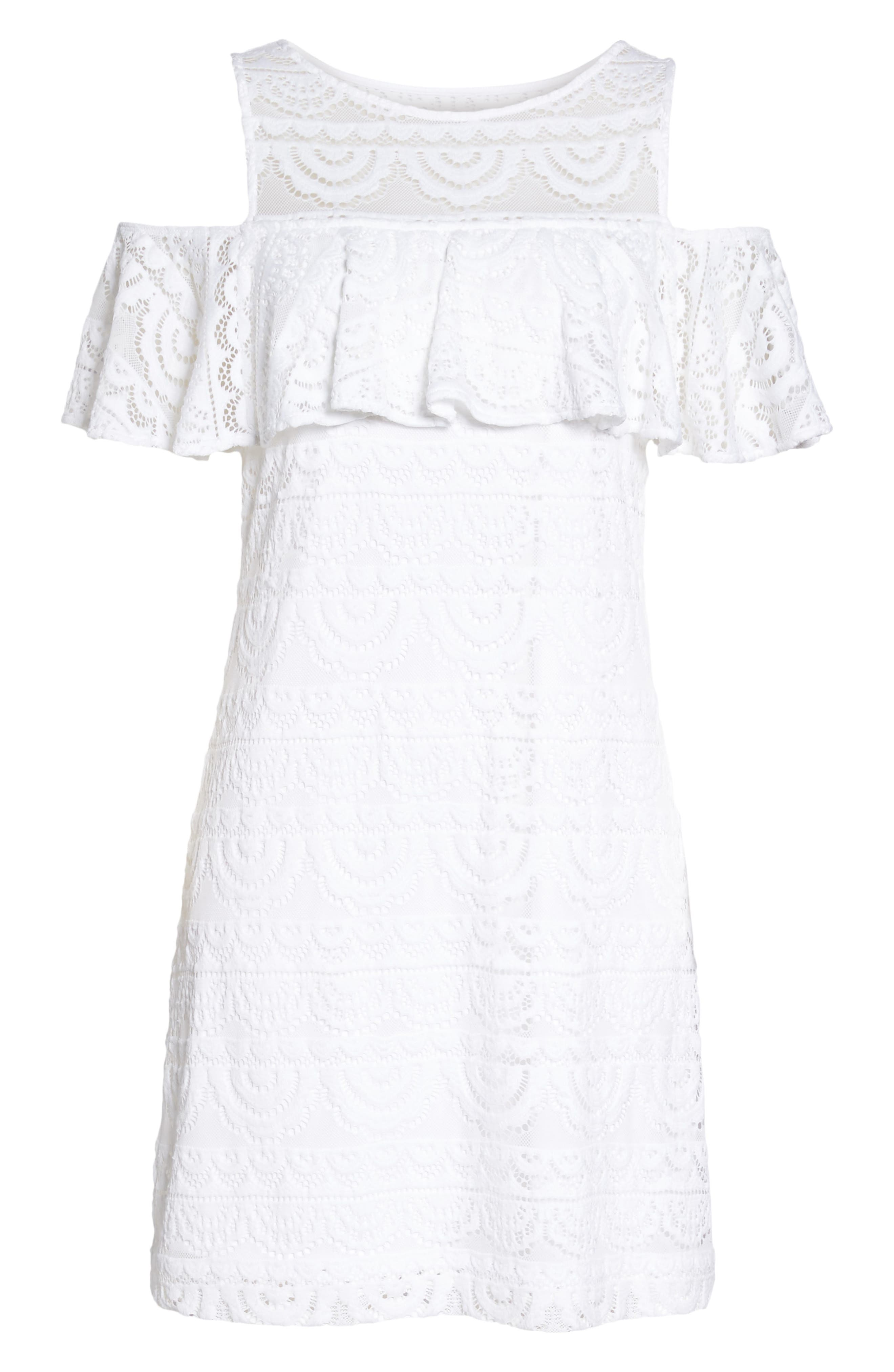 Lyra Cold Shoulder Lace Dress,                             Alternate thumbnail 6, color,                             Resort White Scallop Lace