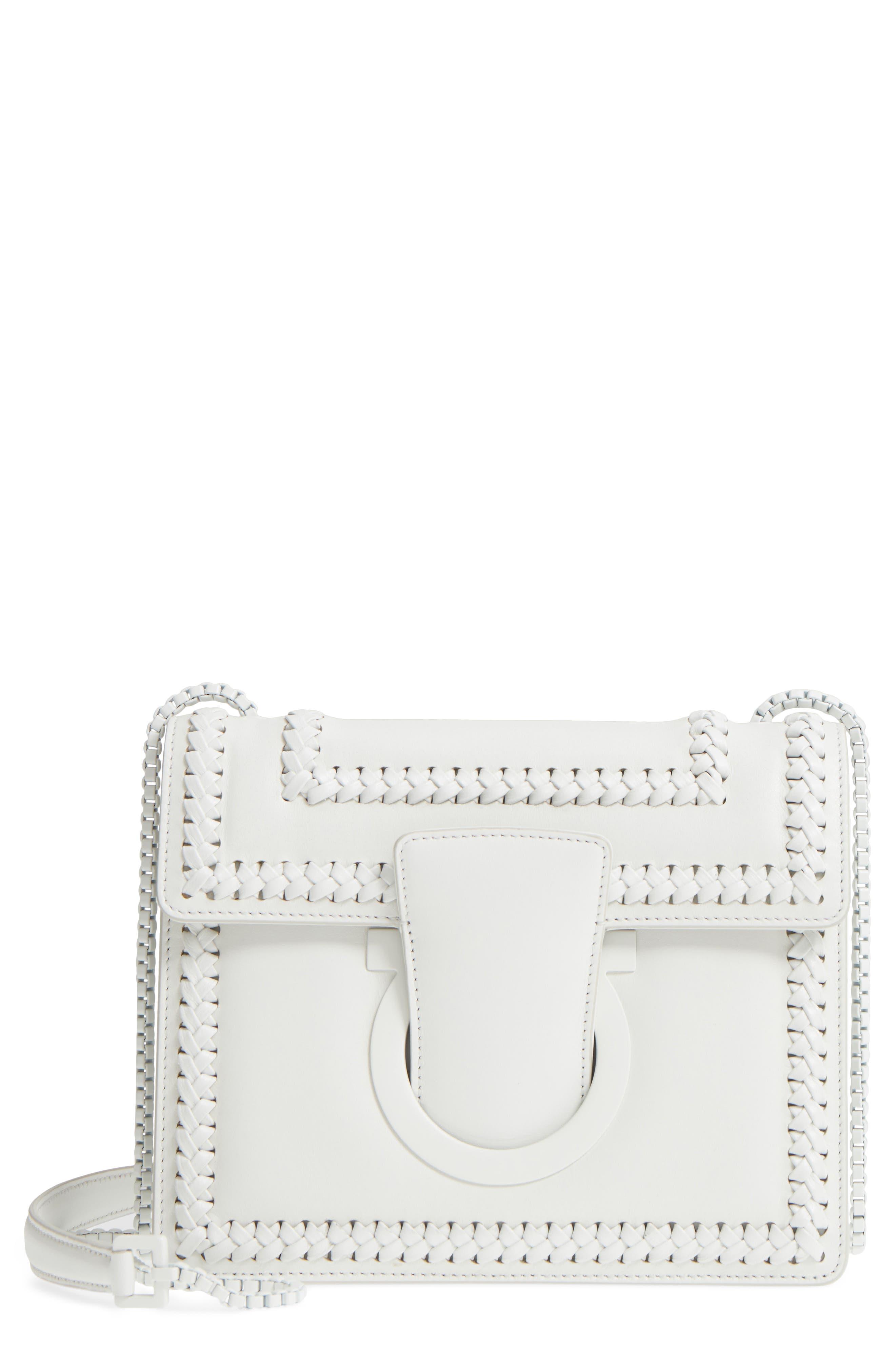 Thalia Gancio Leather Shoulder Bag,                         Main,                         color, New Bianco Ottico