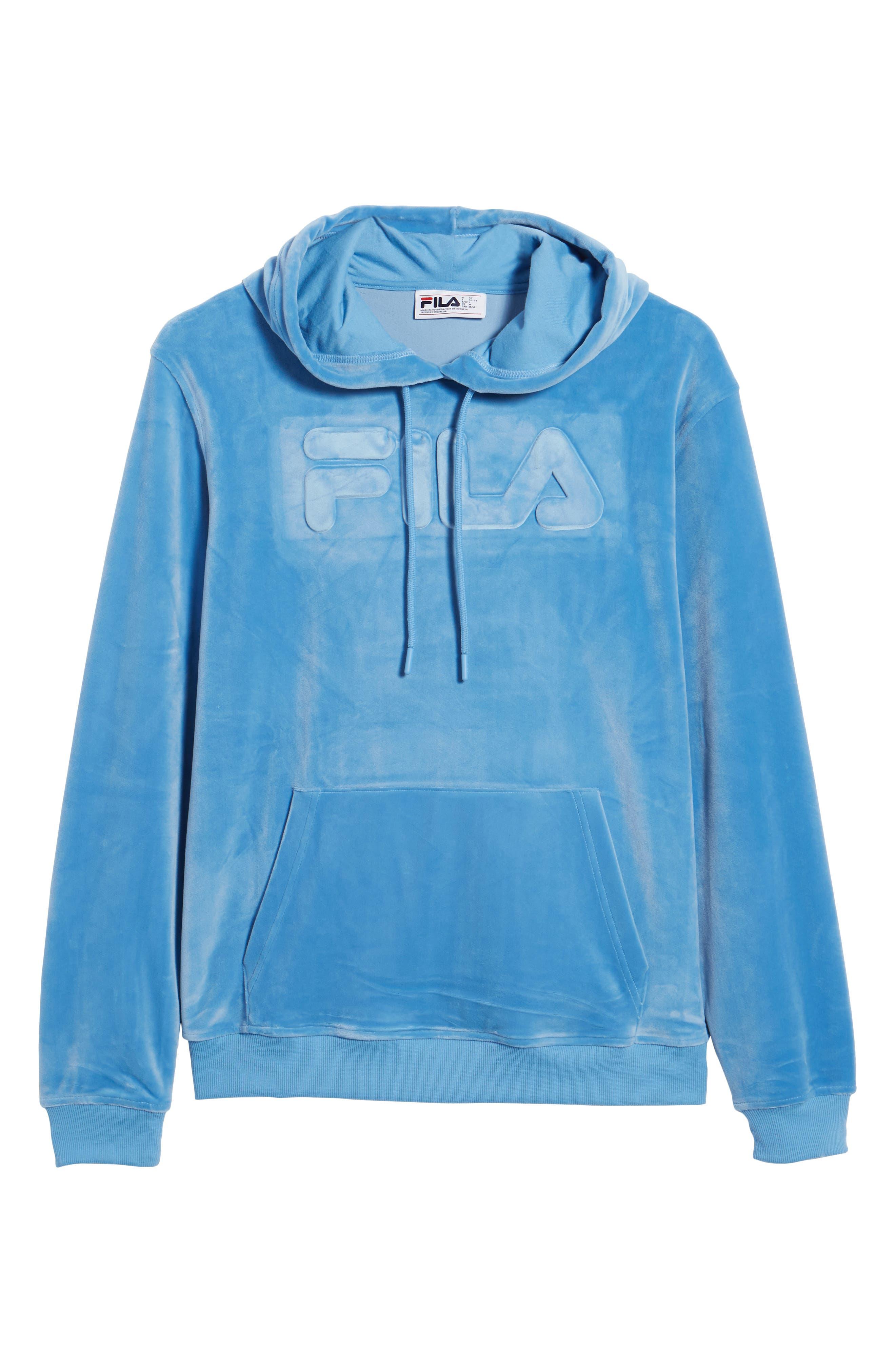 Asher Velour Hoodie Sweatshirt,                             Alternate thumbnail 6, color,                             Silver Lake Blue