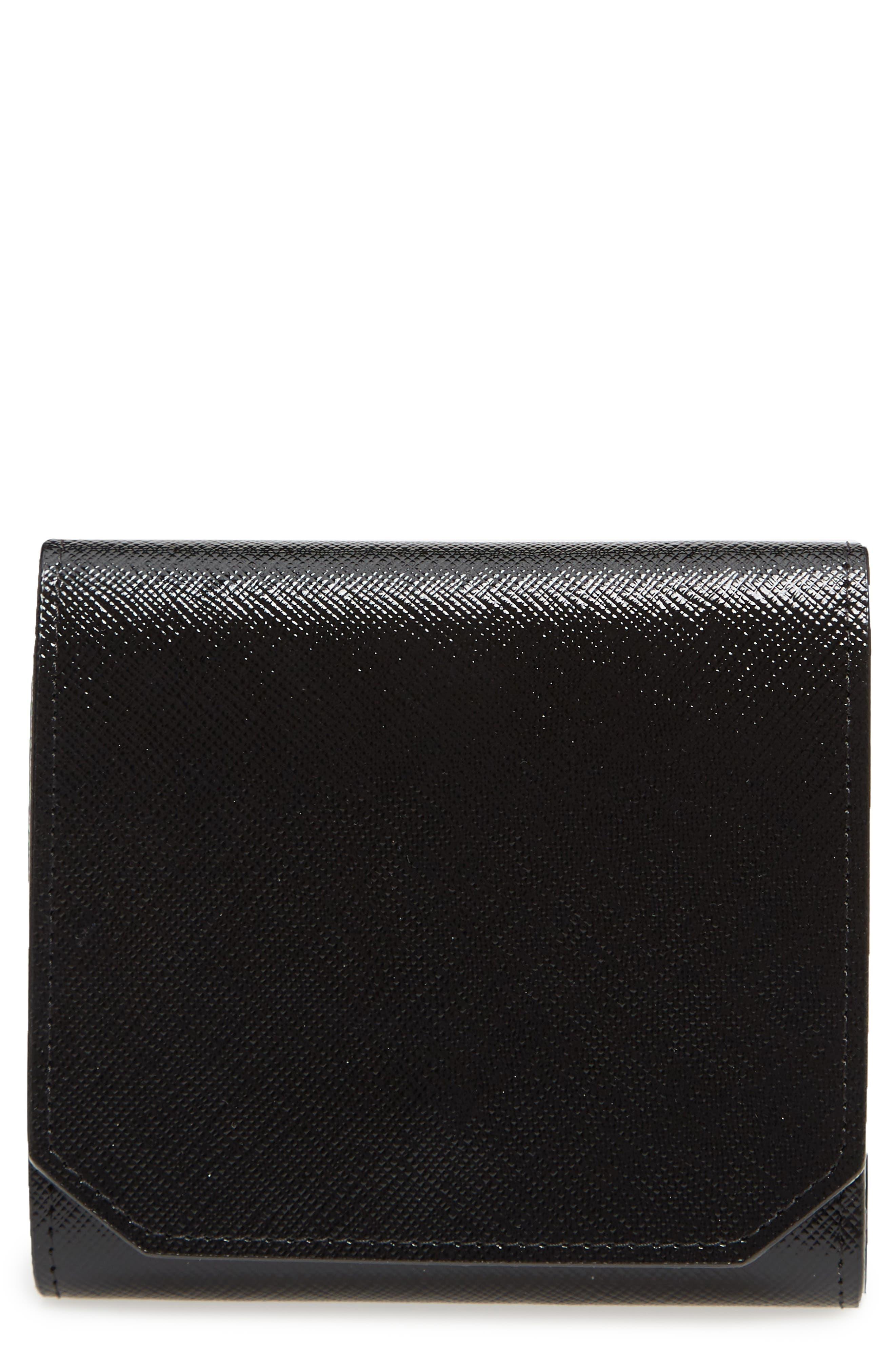 Trifold Leather Envelope Wallet,                             Main thumbnail 1, color,                             Black