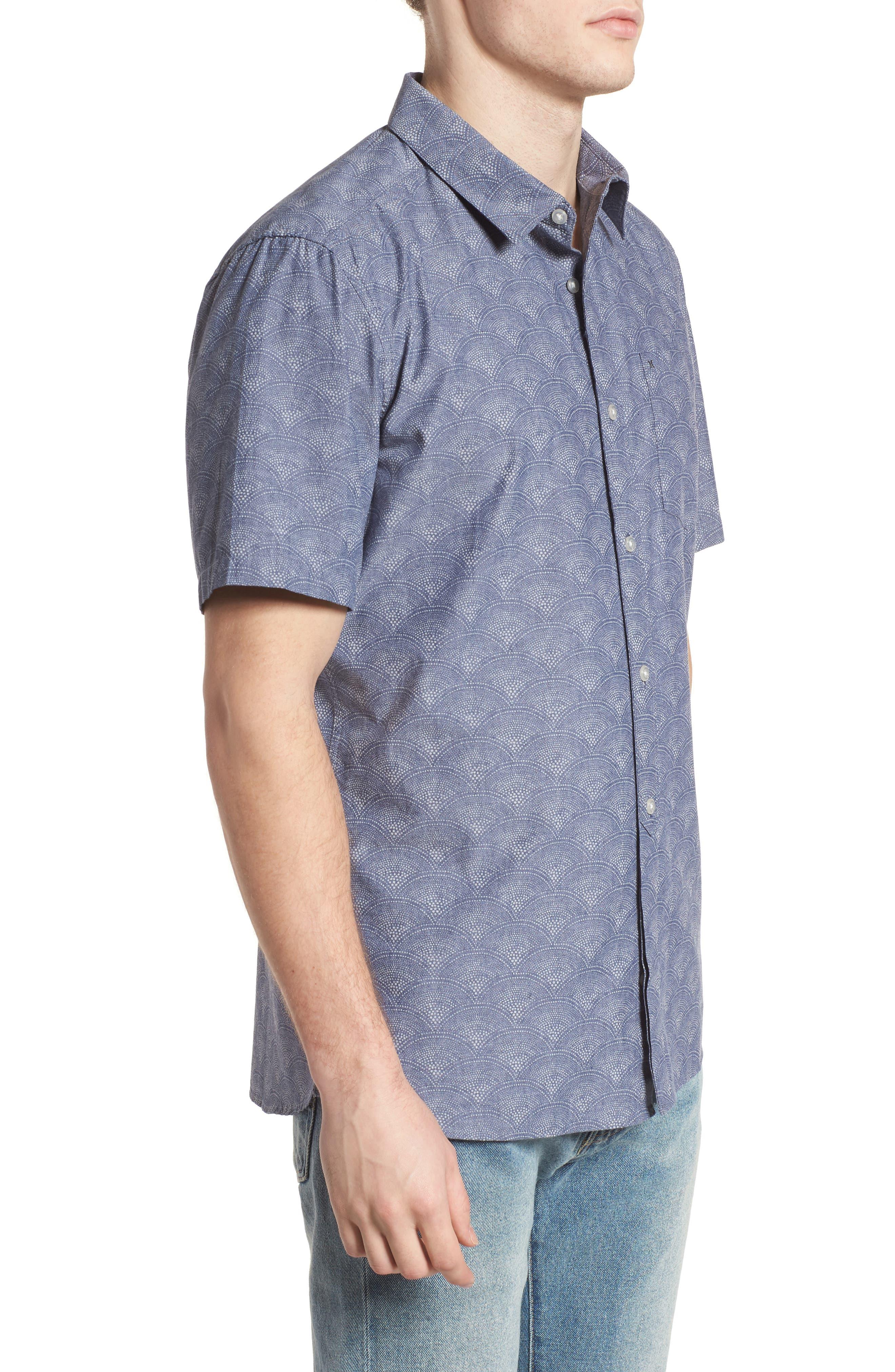 Pescado Short Sleeve Oxford Shirt,                             Alternate thumbnail 3, color,                             Obsidian