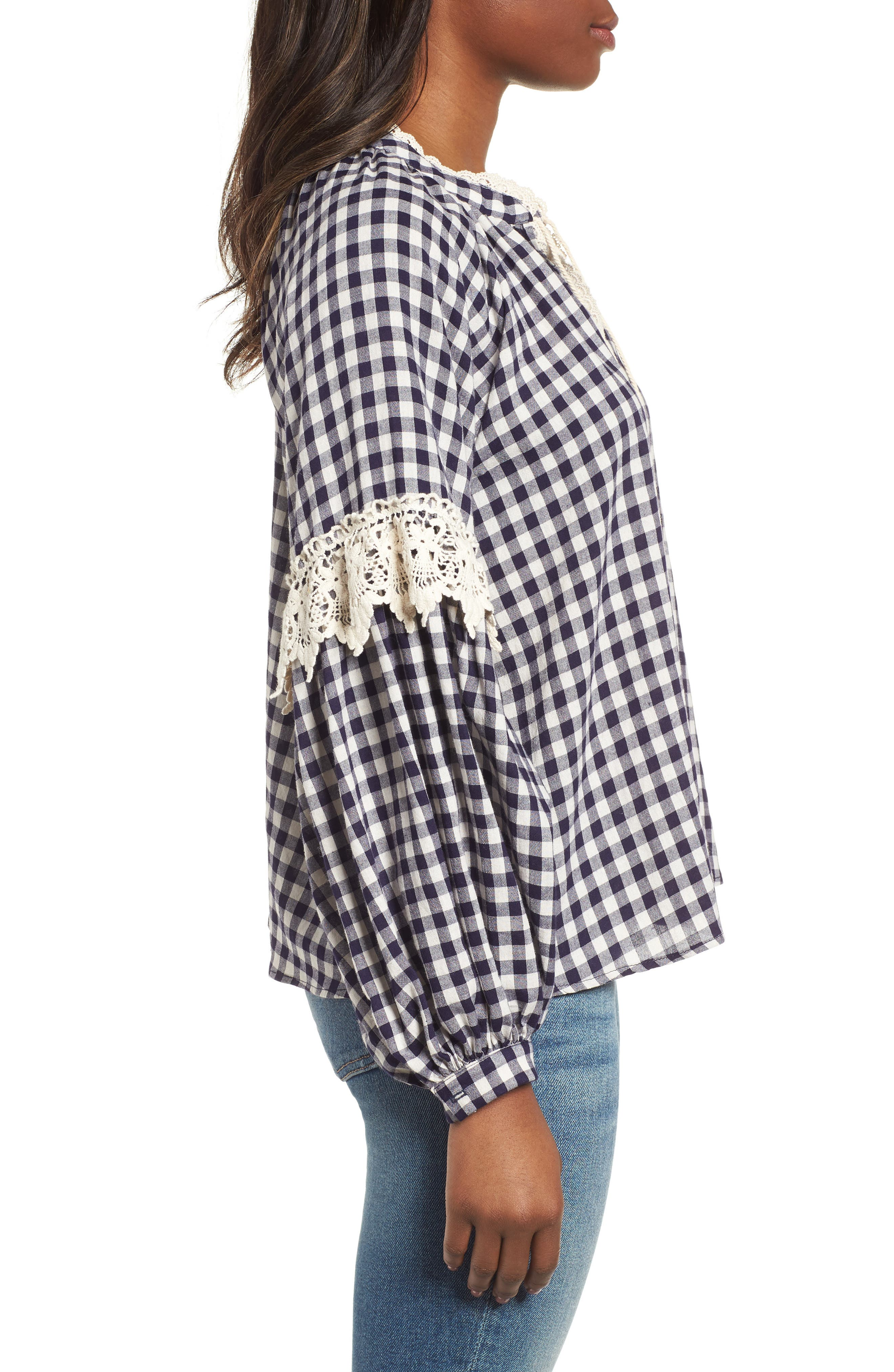 Gingham Check Peasant Top,                             Alternate thumbnail 3, color,                             Navy White Gingham