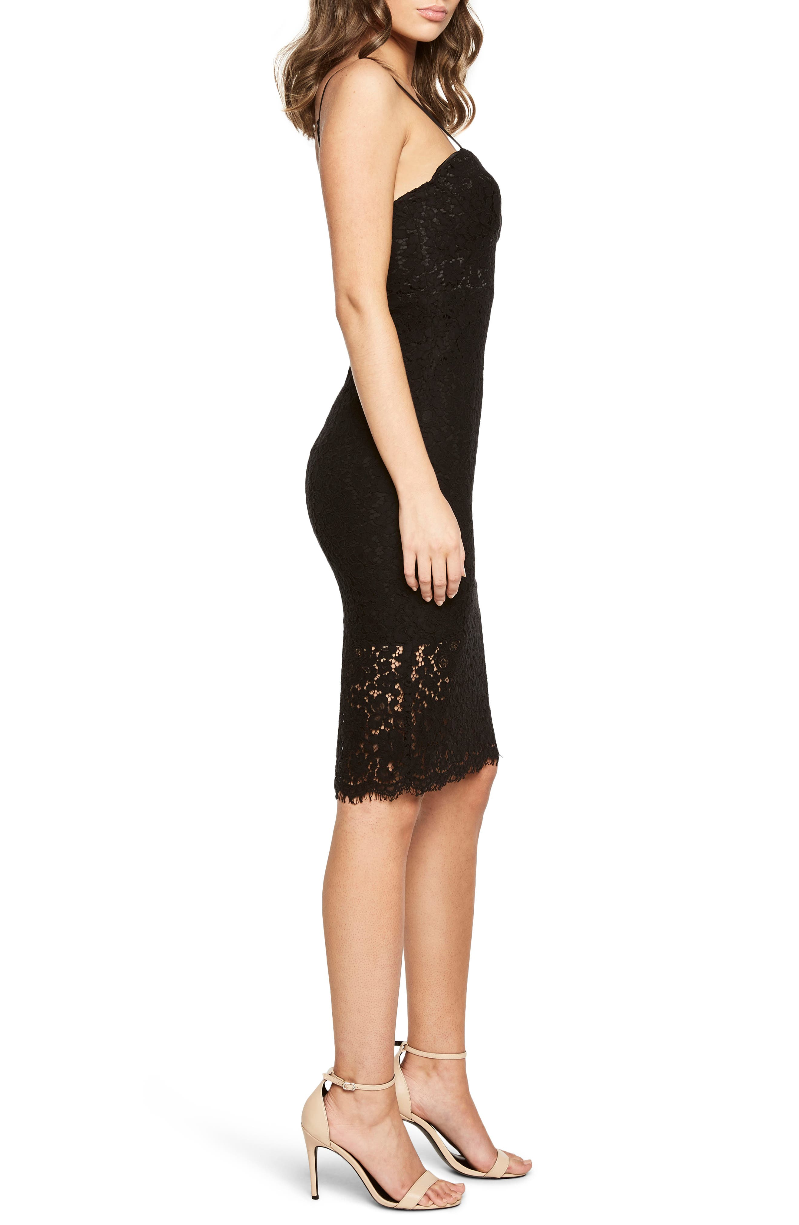 Pierre Lace Dress,                             Alternate thumbnail 3, color,                             Black