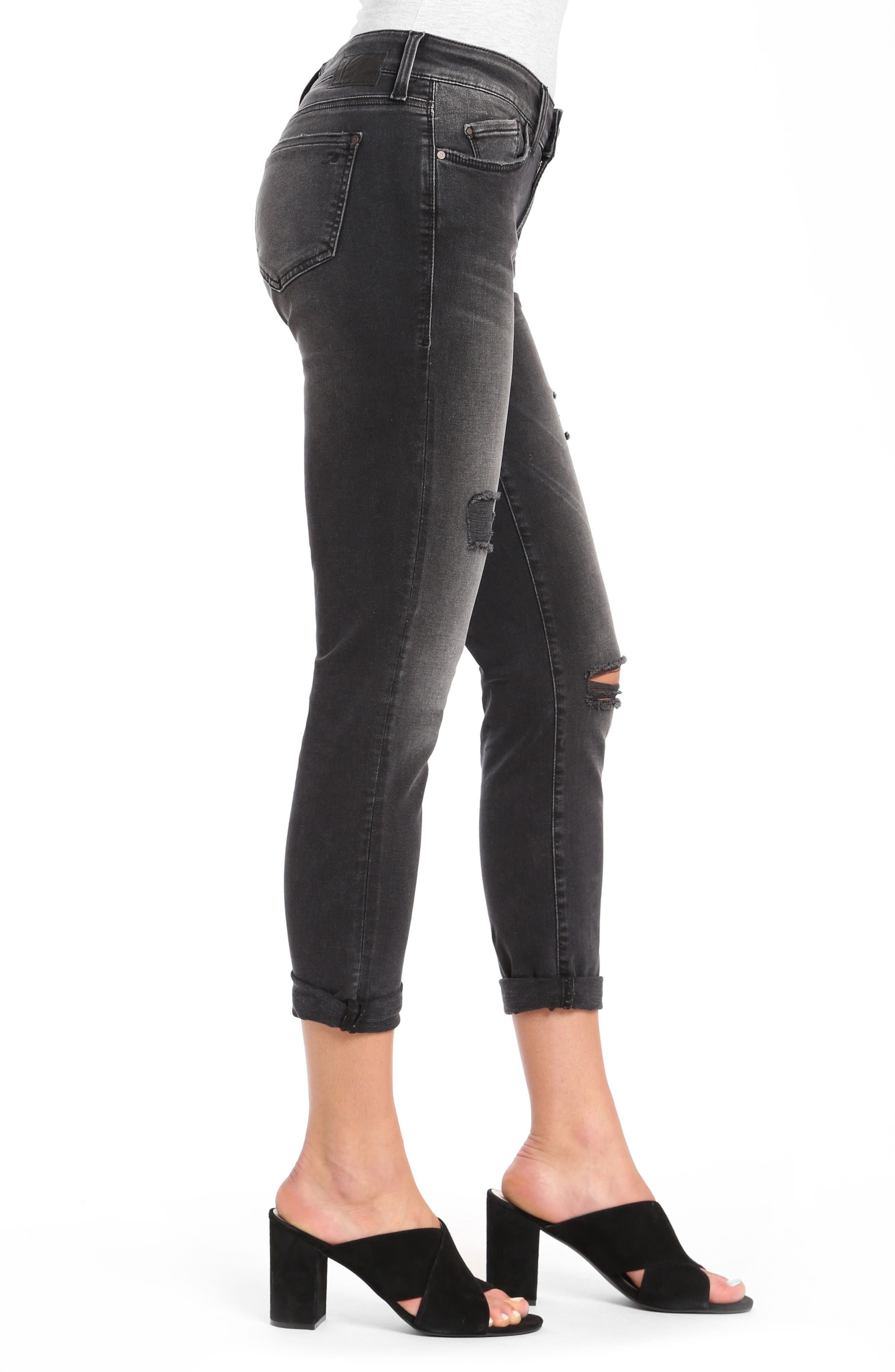 Alissa Super Skinny Ankle Jeans,                             Alternate thumbnail 4, color,                             Smoke Ripped Nolita