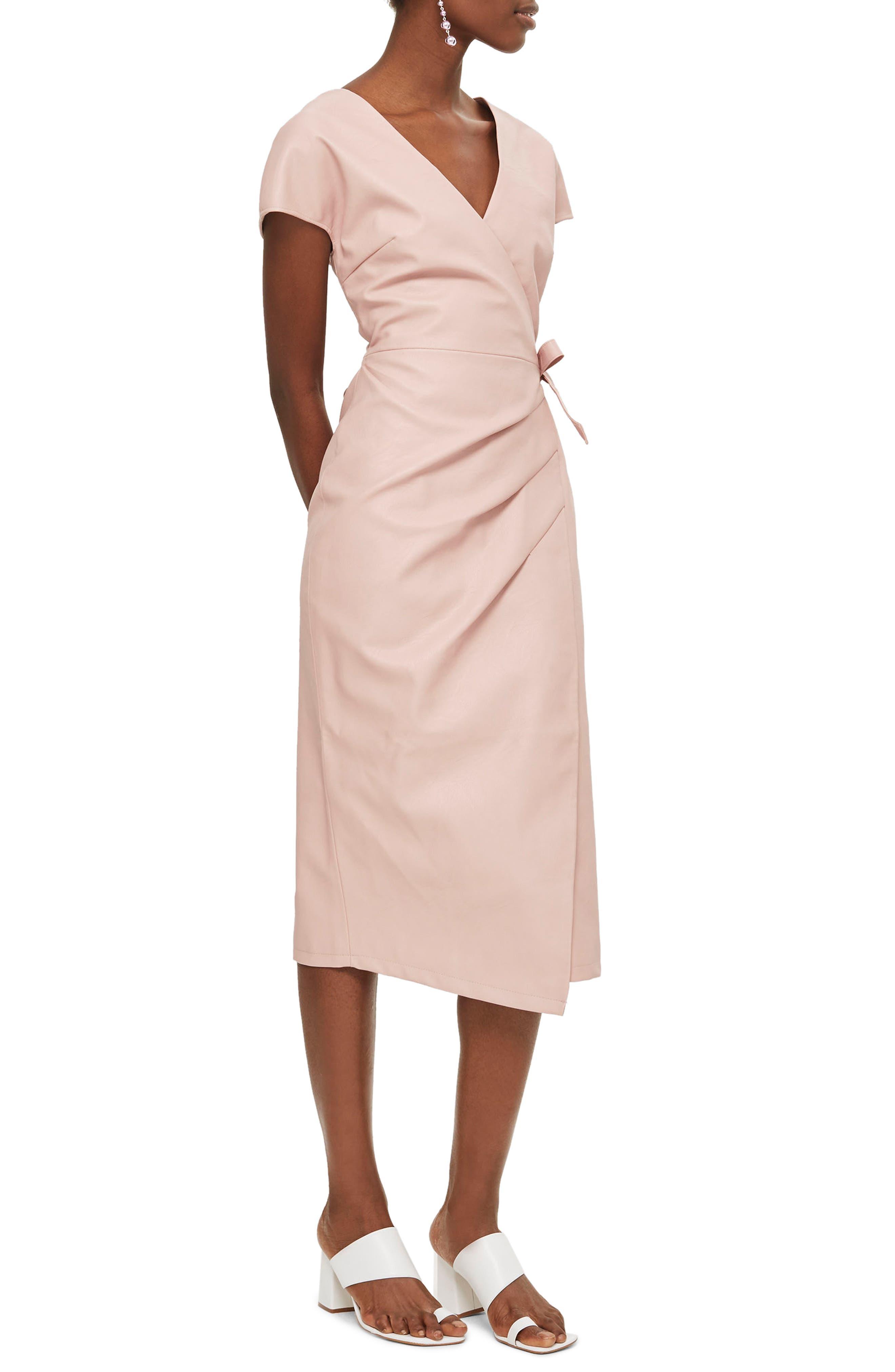 Wrap Midi Dress,                             Main thumbnail 1, color,                             Light Pink