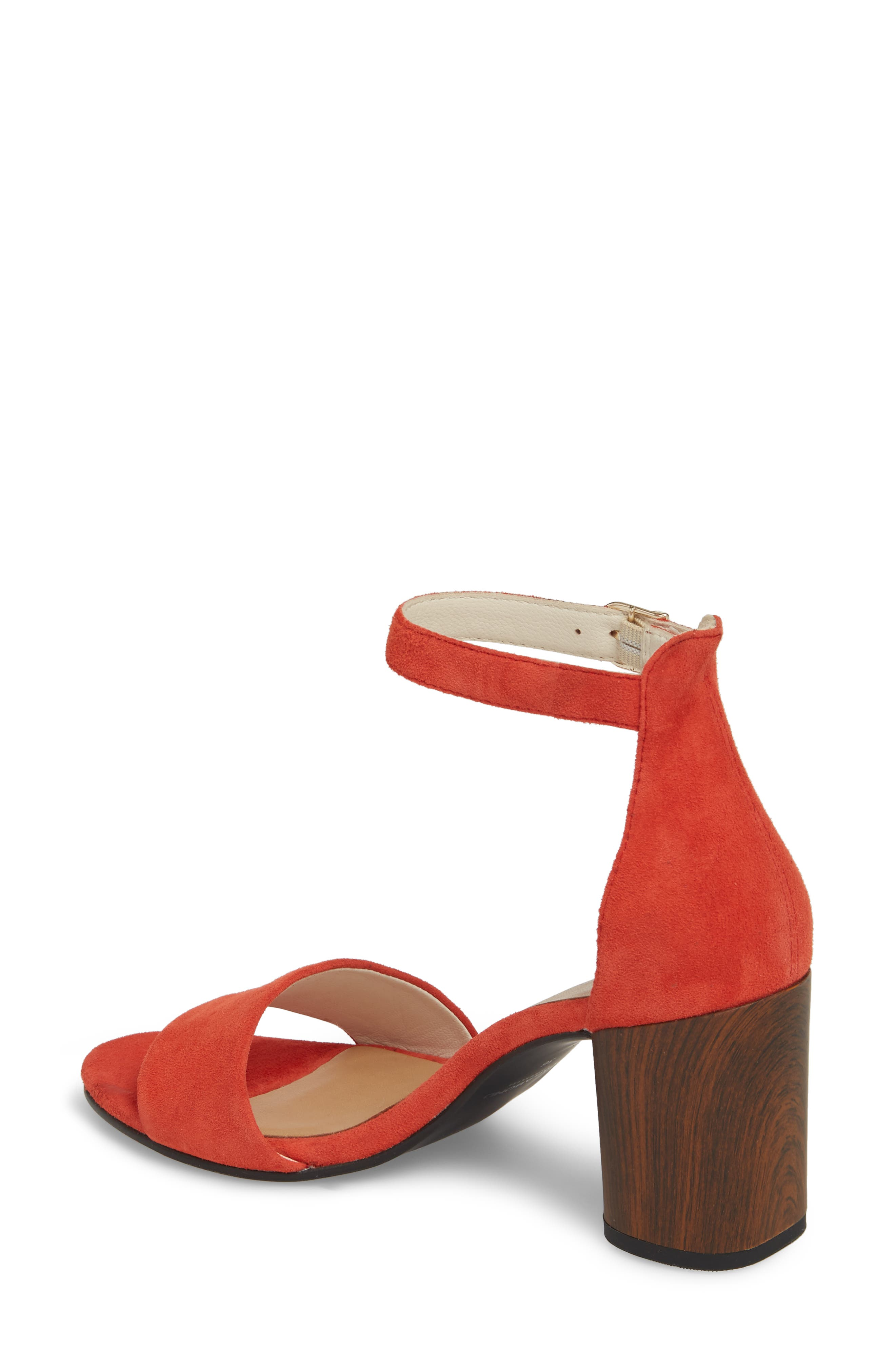 Carol Ankle Strap Sandal,                             Alternate thumbnail 2, color,                             Coral Suede