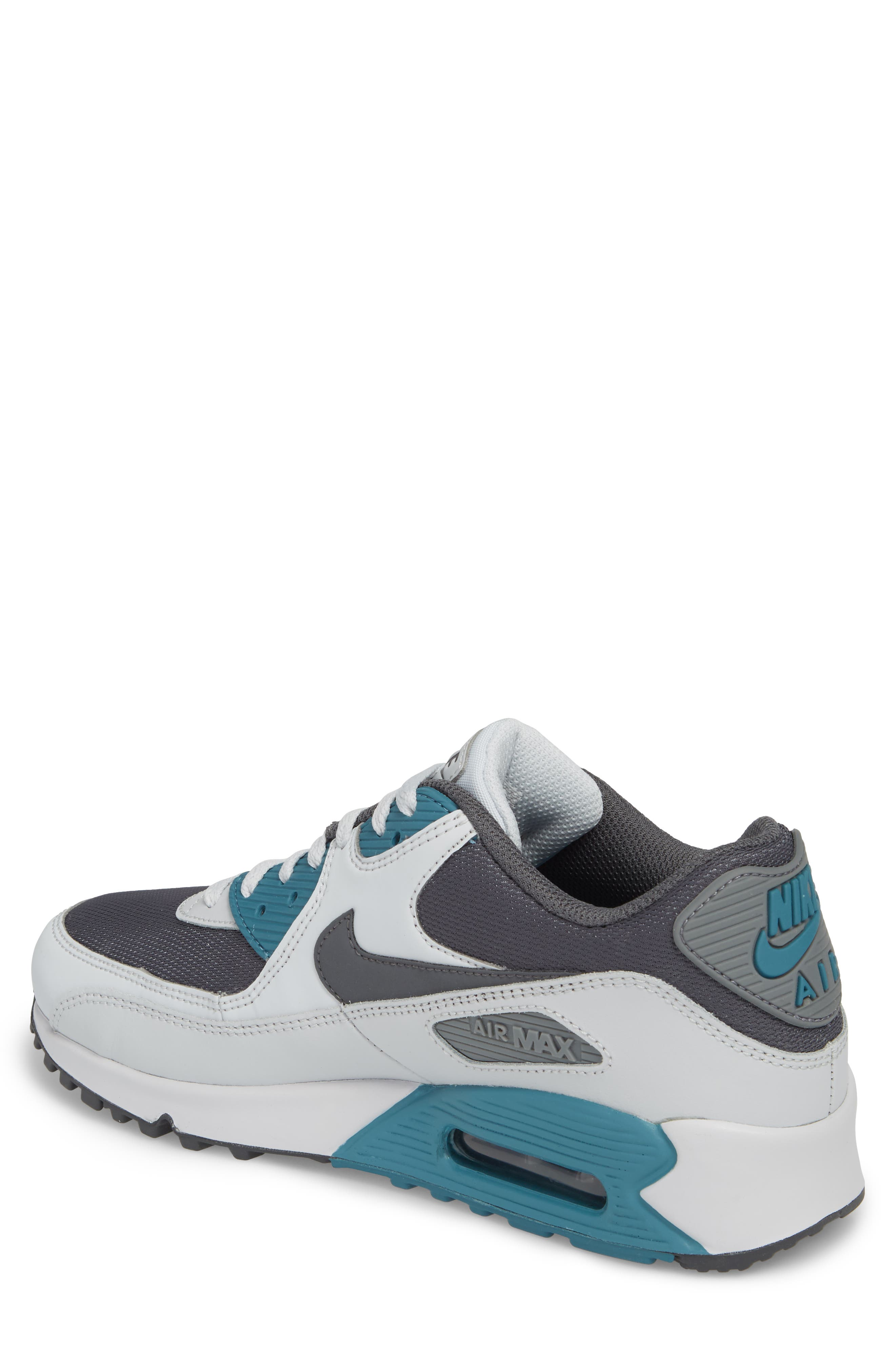 'Air Max 90 Essential' Sneaker,                             Alternate thumbnail 2, color,                             Pure Platinum/ Cool Grey/ Aqua