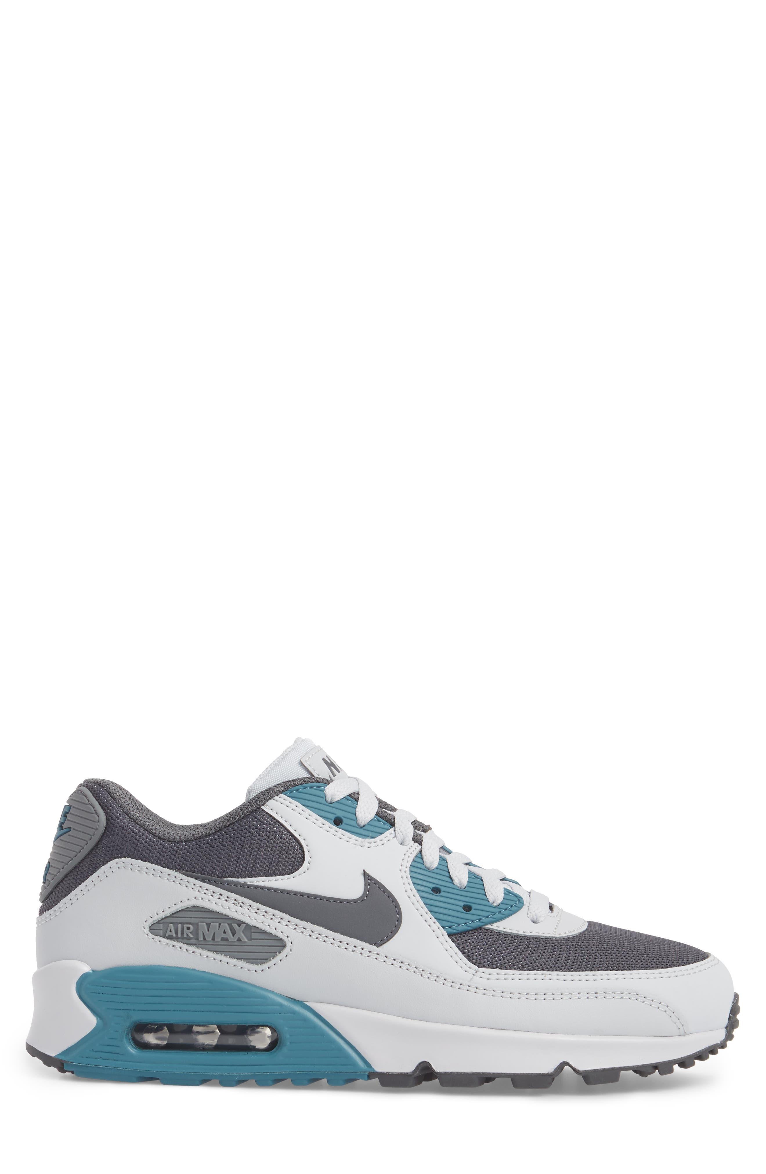 'Air Max 90 Essential' Sneaker,                             Alternate thumbnail 3, color,                             Pure Platinum/ Cool Grey/ Aqua