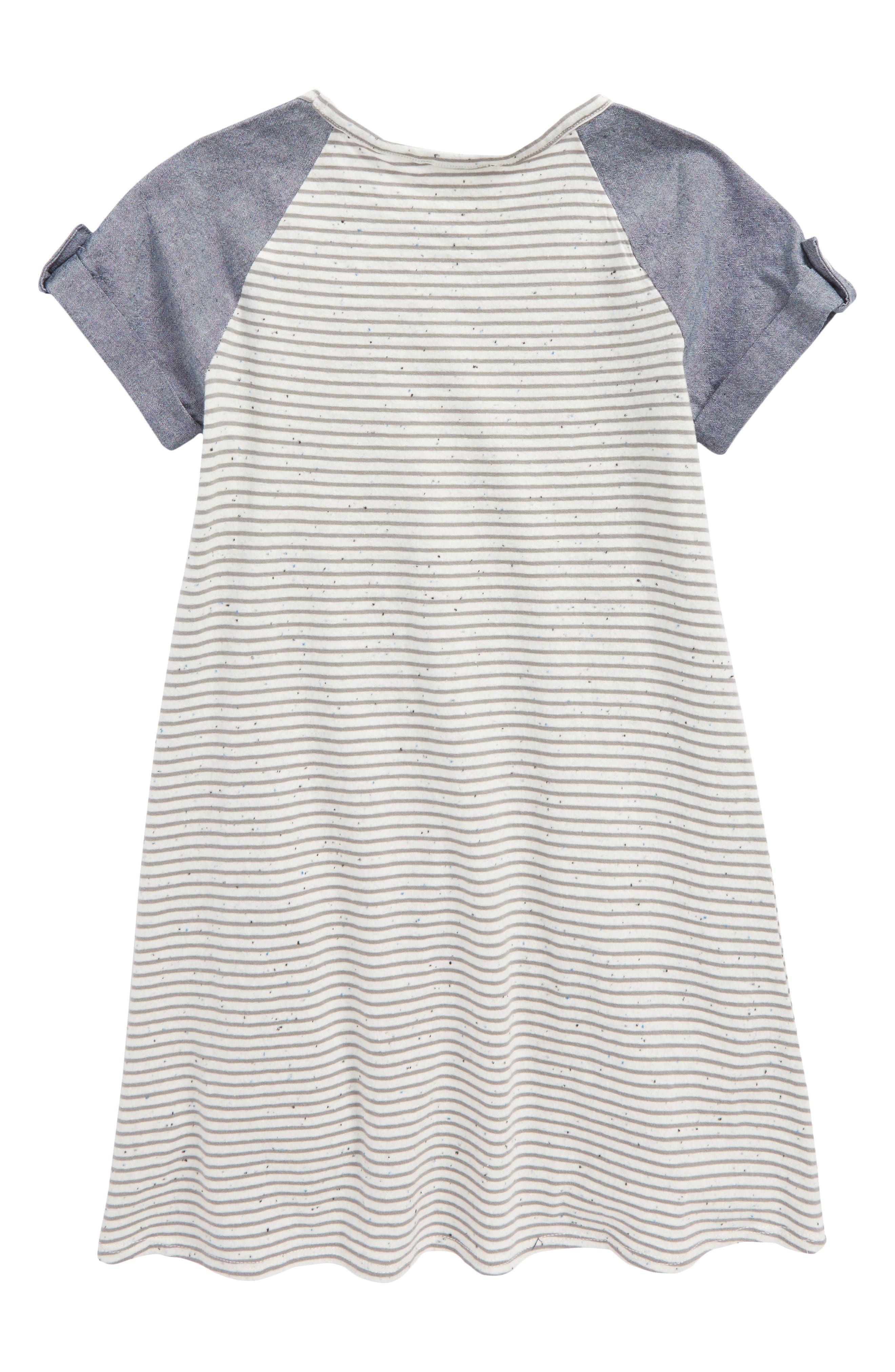 Mixed Media Dress,                             Alternate thumbnail 2, color,                             Ivory Egret- Grey Stripe