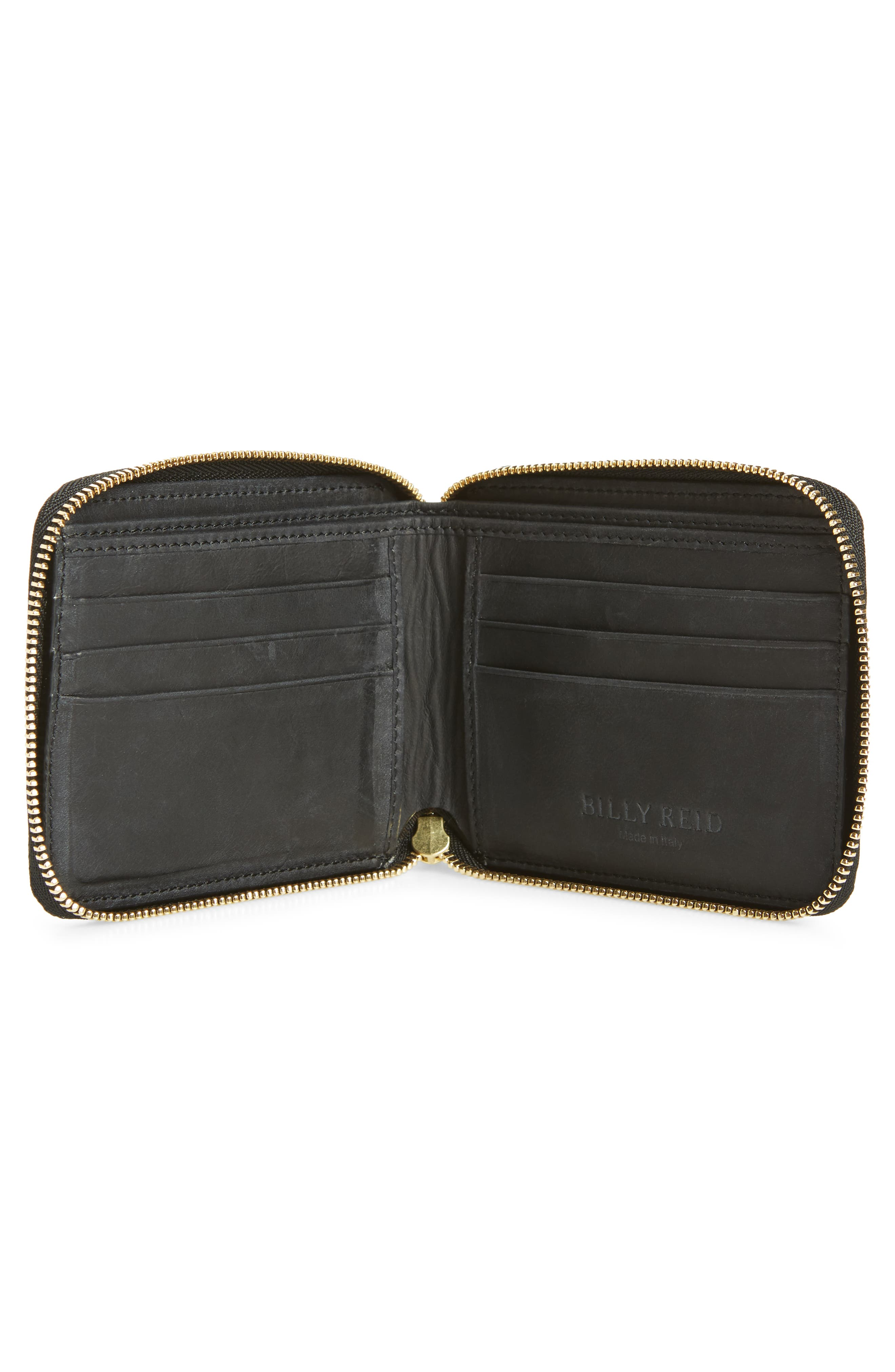 Leather Zip Wallet,                             Alternate thumbnail 2, color,                             Black