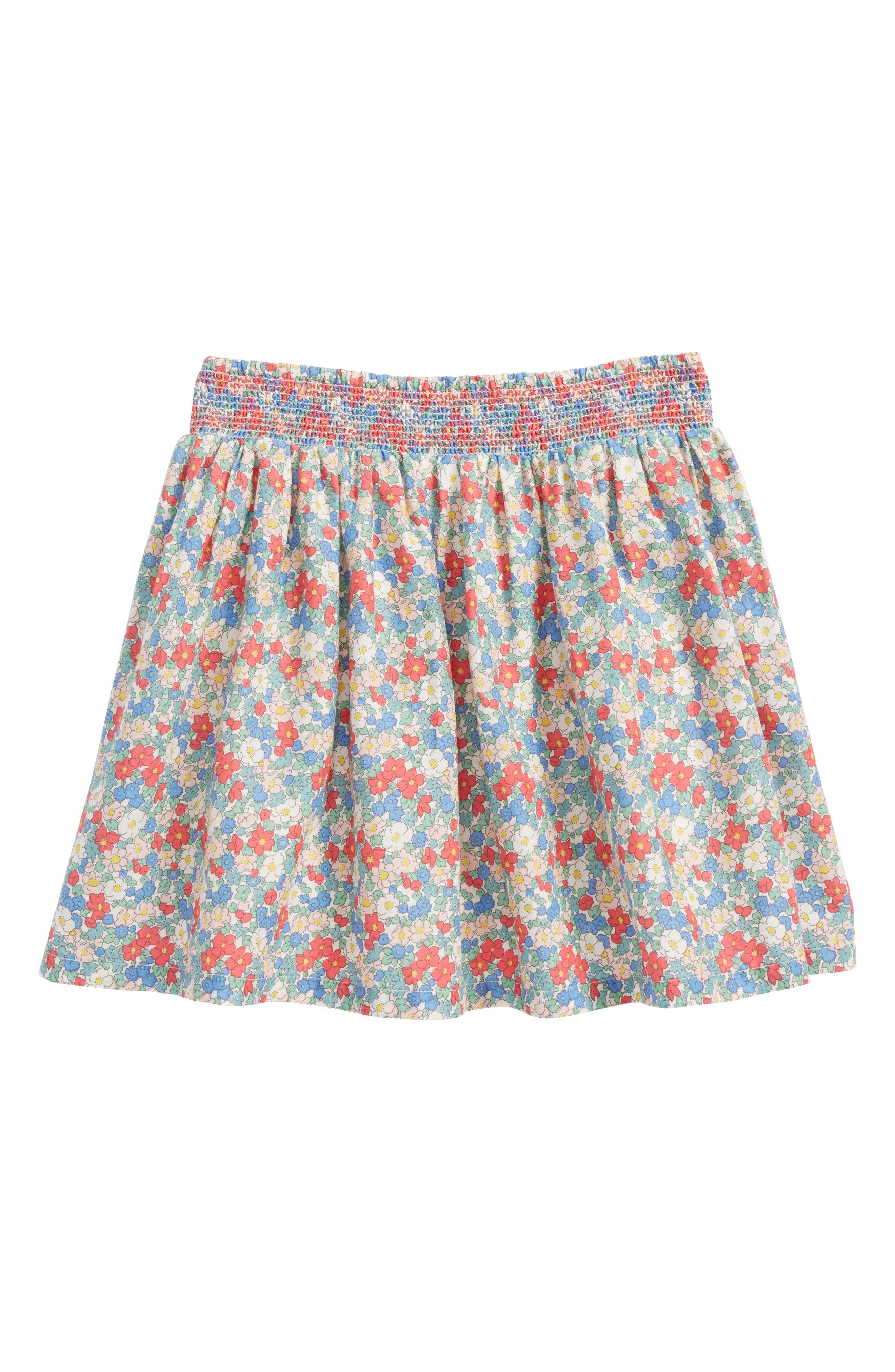 Mini Boden Floral Smocked Cotton Skirt (Toddler Girls, Little Girls & Big Girls)