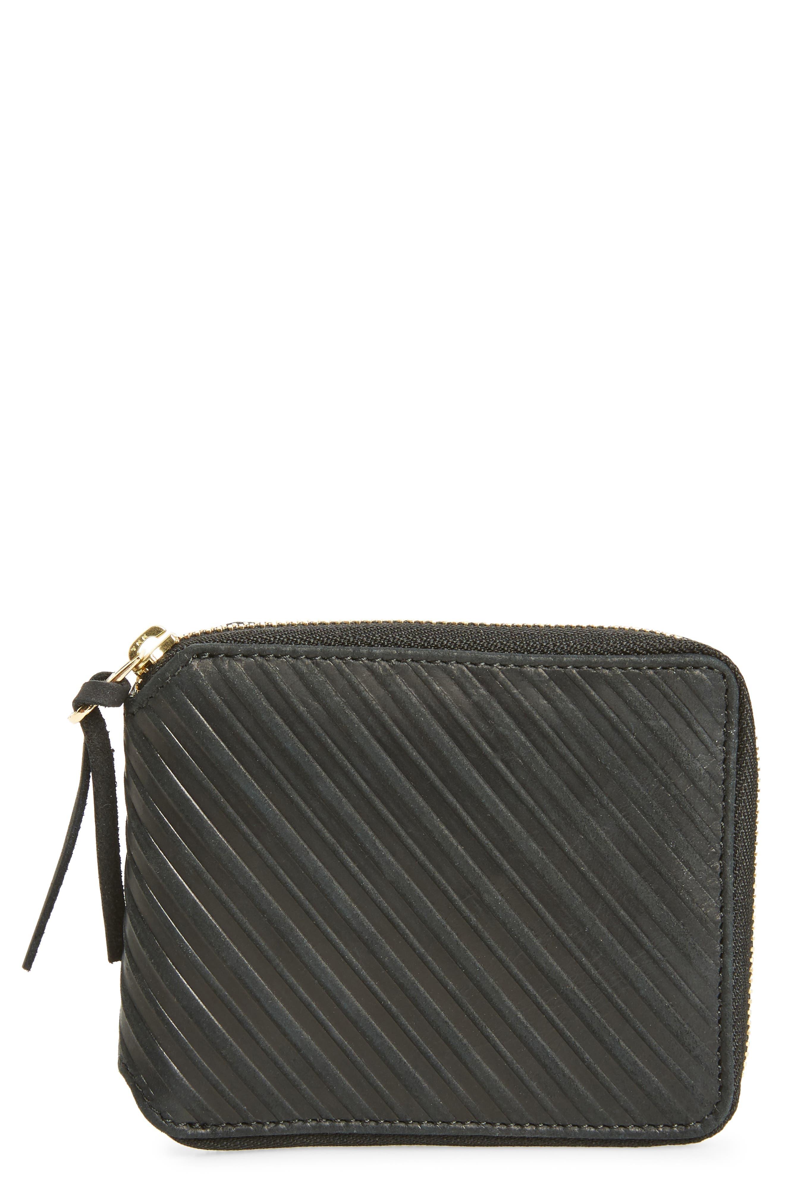 Leather Zip Wallet,                             Main thumbnail 1, color,                             Black