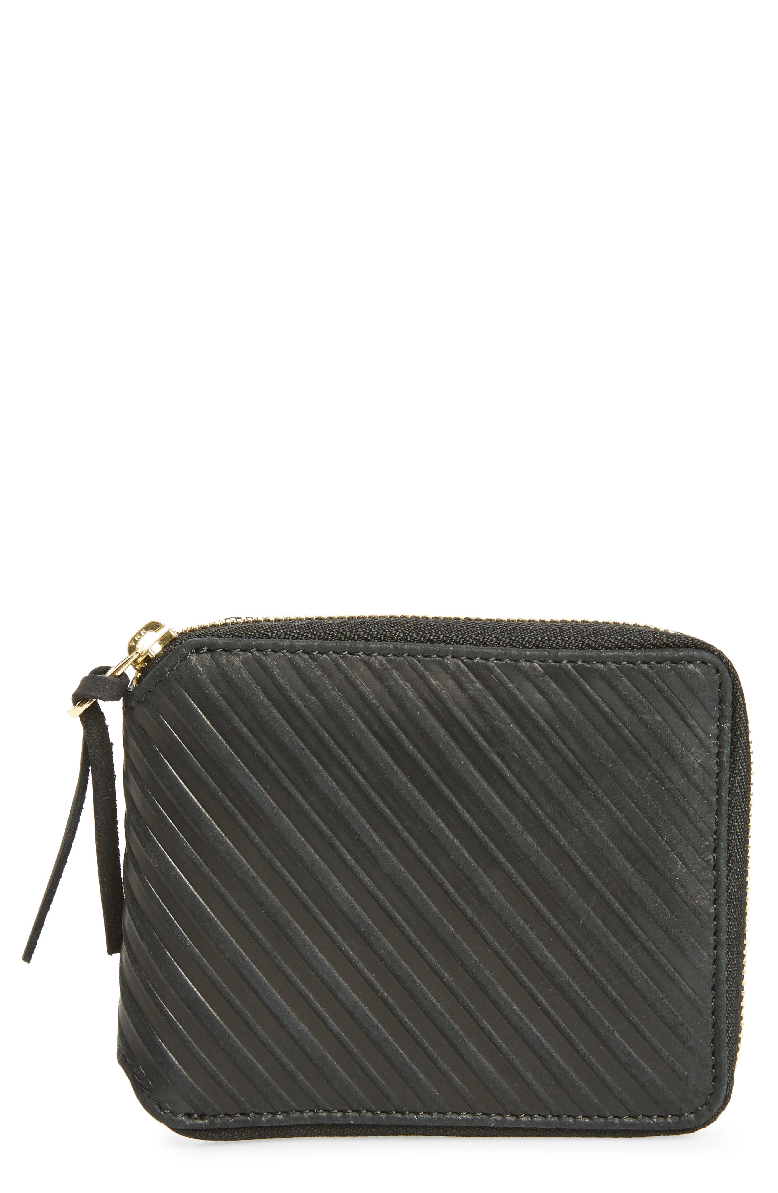 Leather Zip Wallet,                         Main,                         color, Black