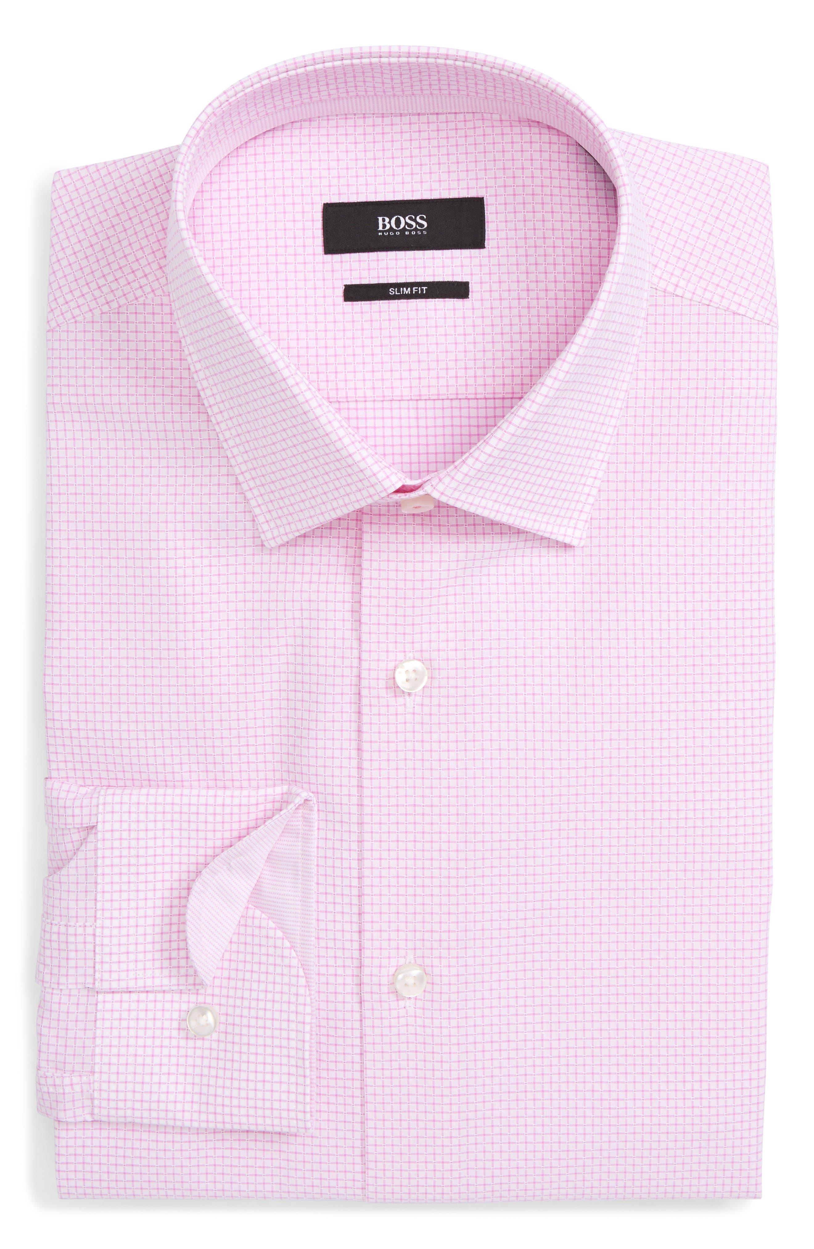 Jesse Slim Fit Check Dress Shirt,                             Alternate thumbnail 6, color,                             Pink