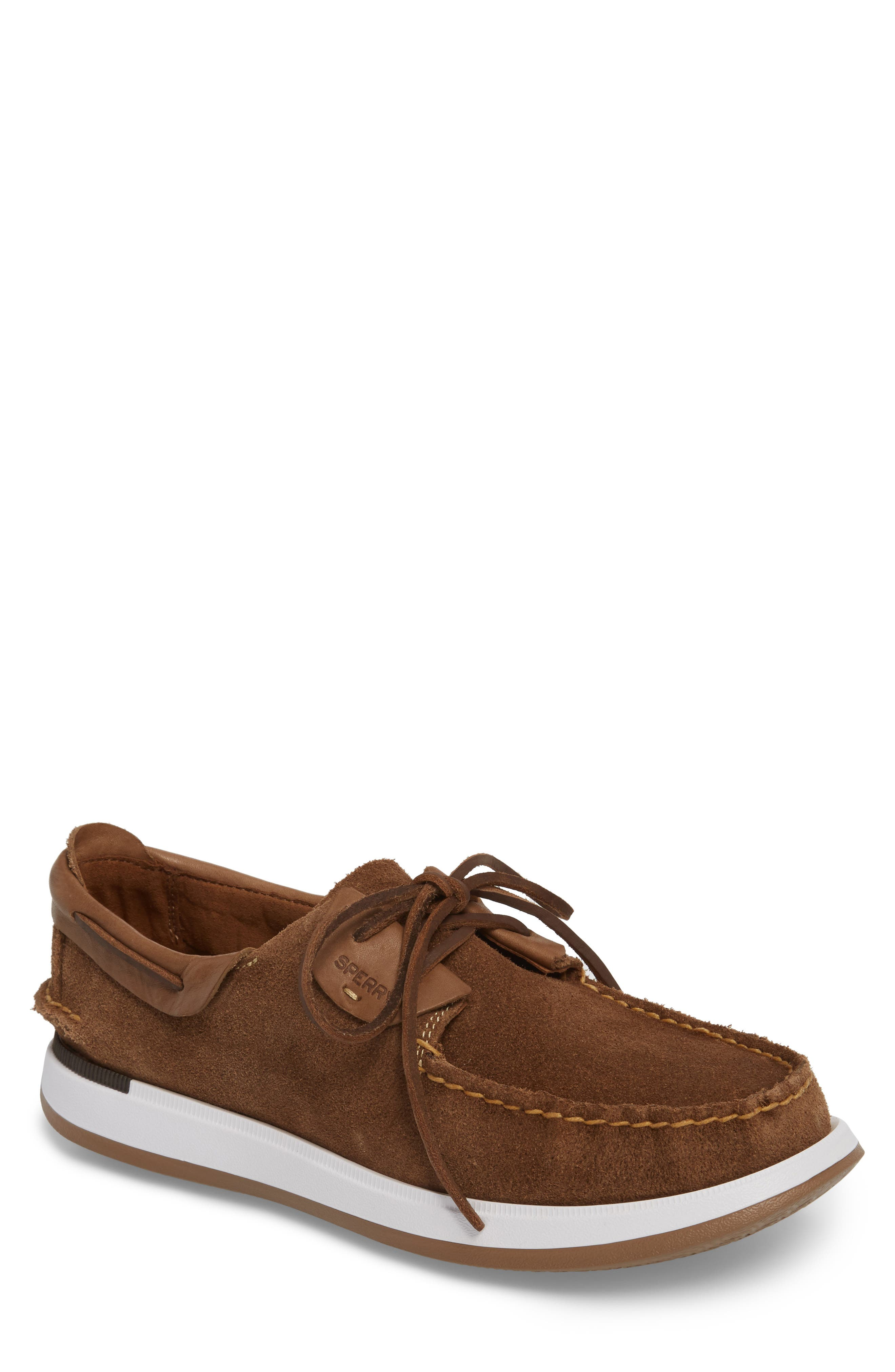 Caspian Boat Shoe,                         Main,                         color, Tan Leather/ Suede