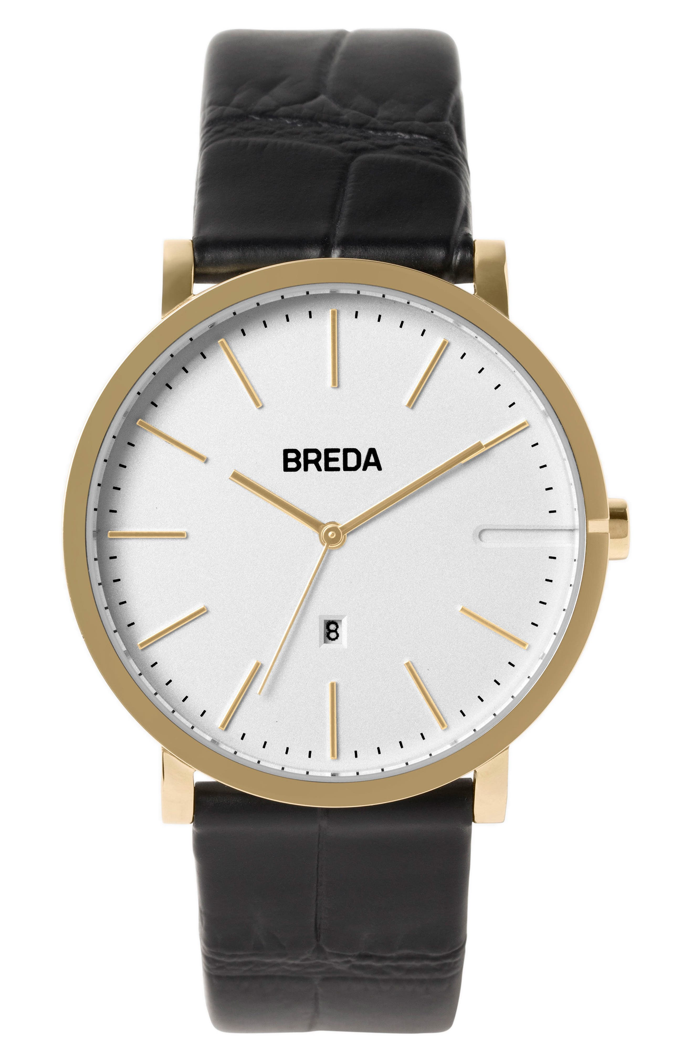 Breuer Leather Strap Watch, 39mm,                         Main,                         color, Black/ Silver/ Gold