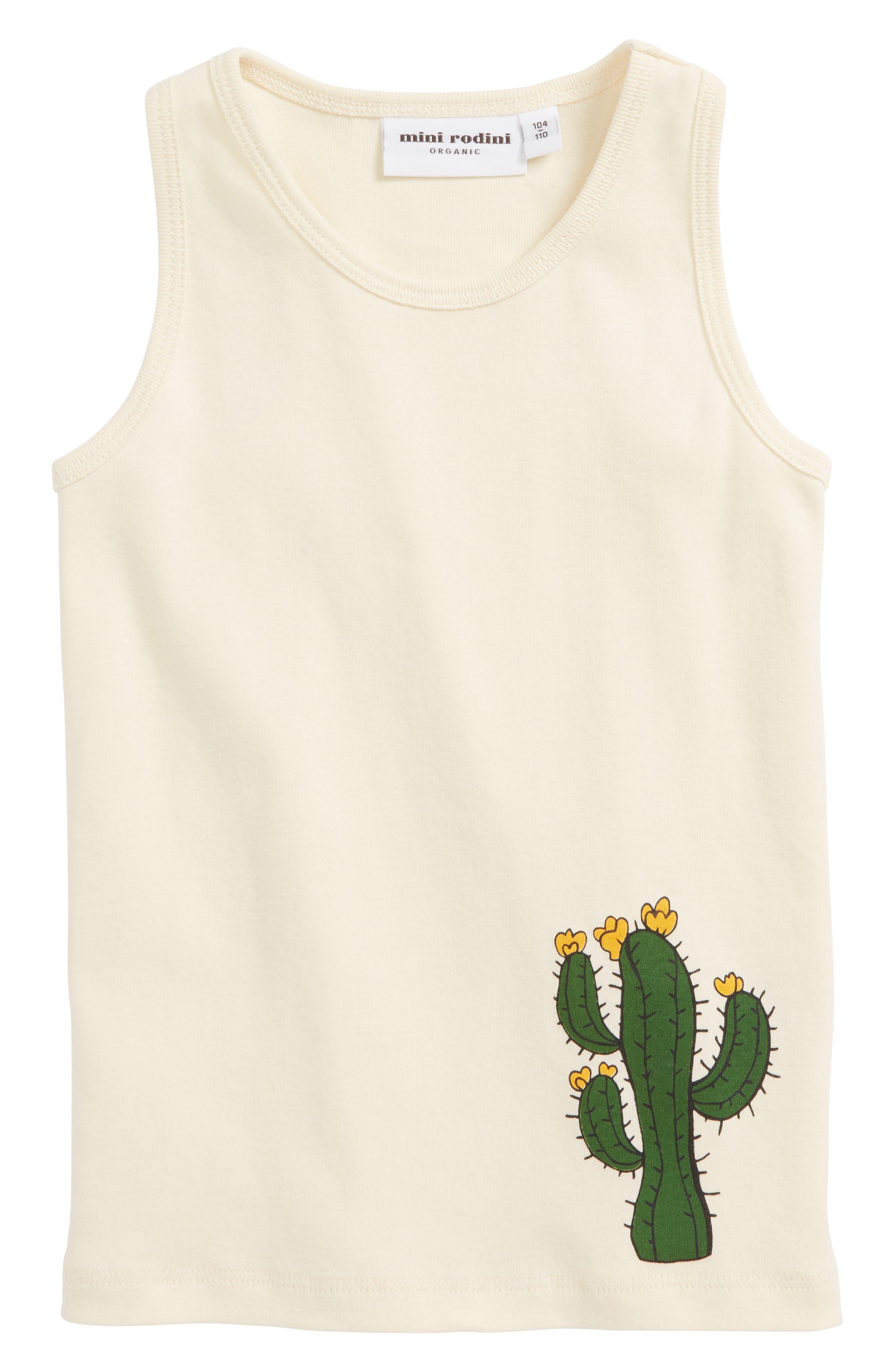 Mini Rodini Cactus Organic Cotton Tank (Toddler Girls & Little Girls)