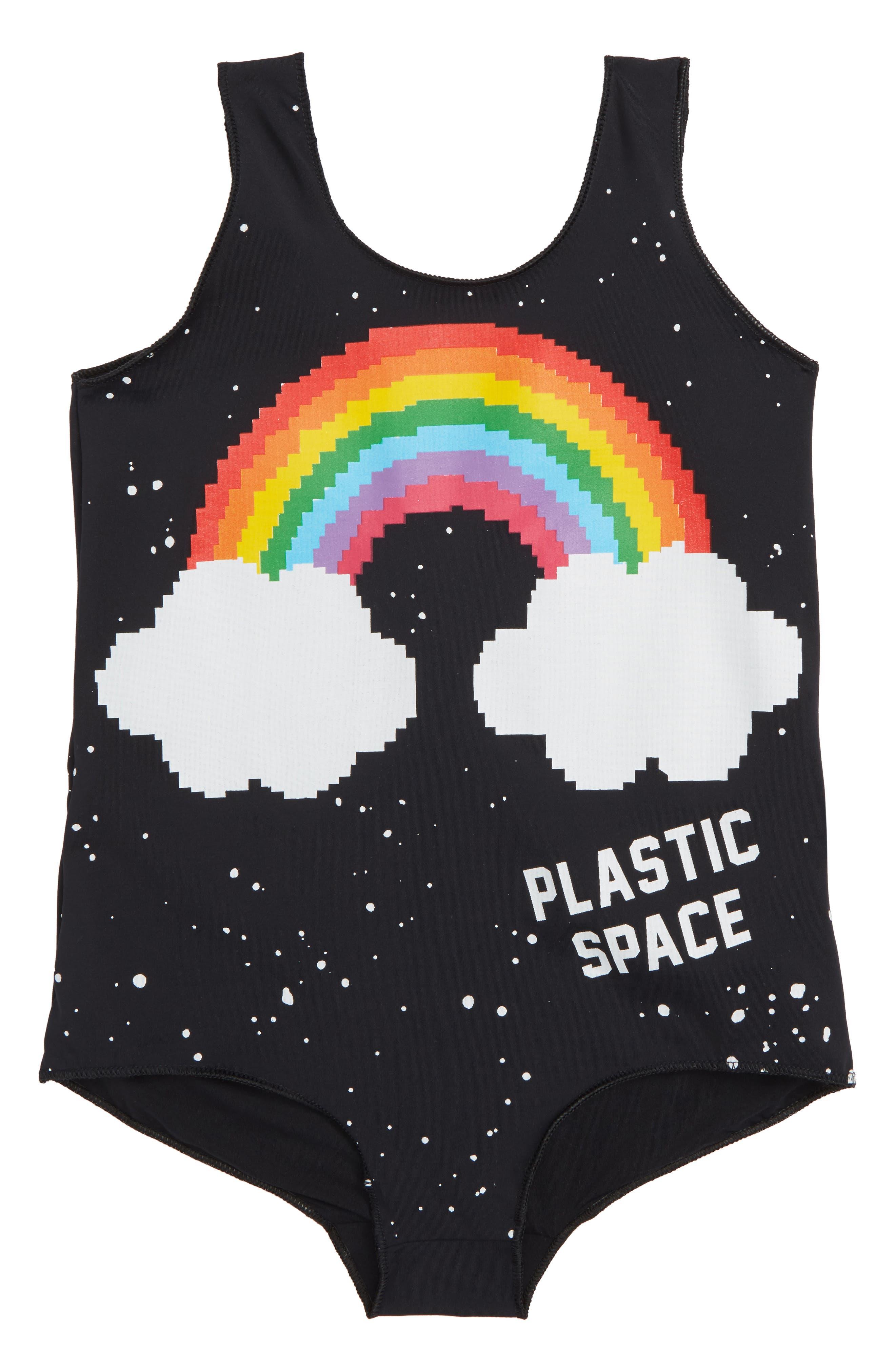 Alternate Image 1 Selected - Plastic Jus Rainbow One-Piece Swimsuit (Toddler Girls, Little Girls & Big Girls)