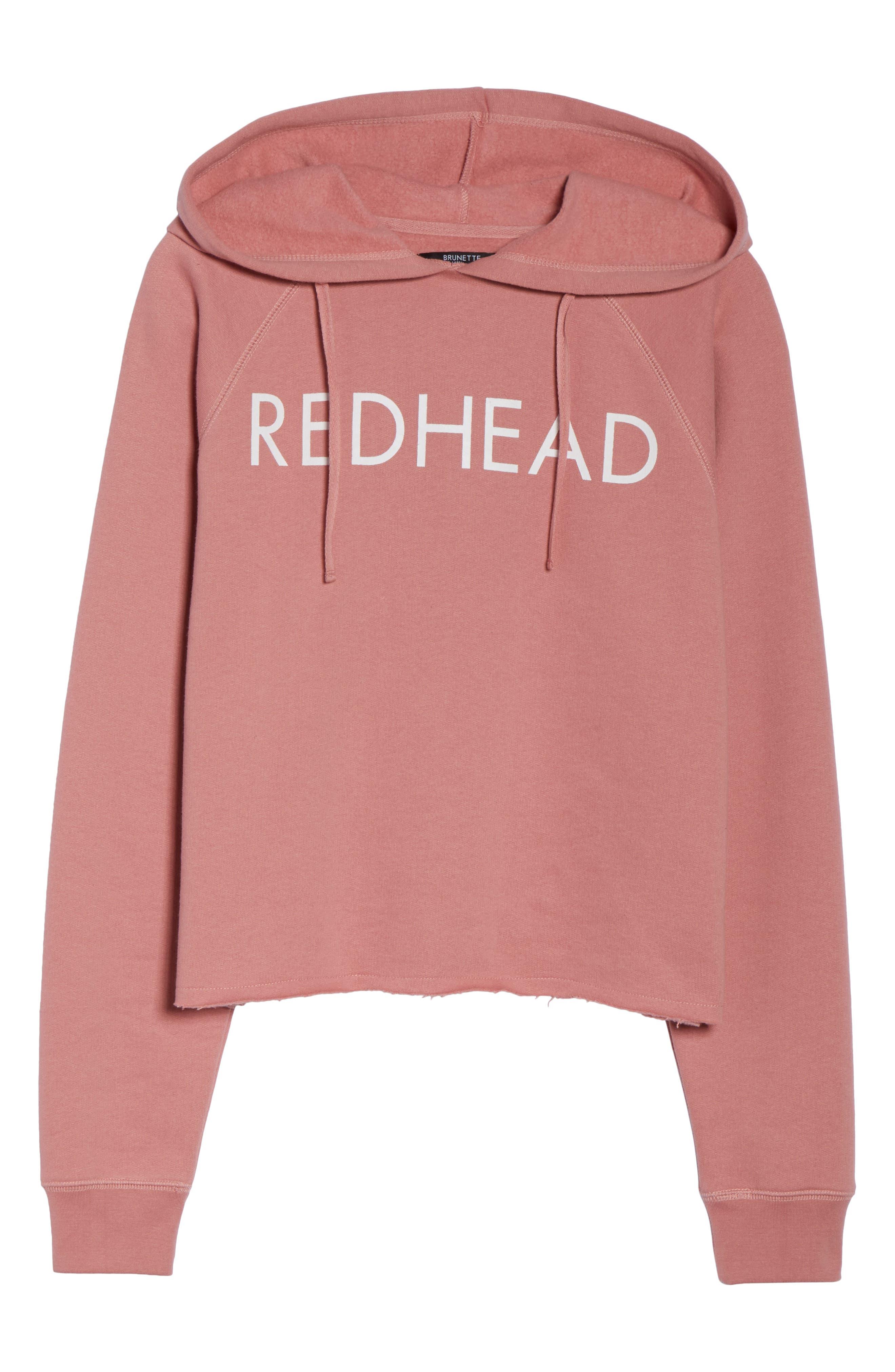 Redhead Raw Hem Hoodie,                             Alternate thumbnail 4, color,                             Dusty Rose