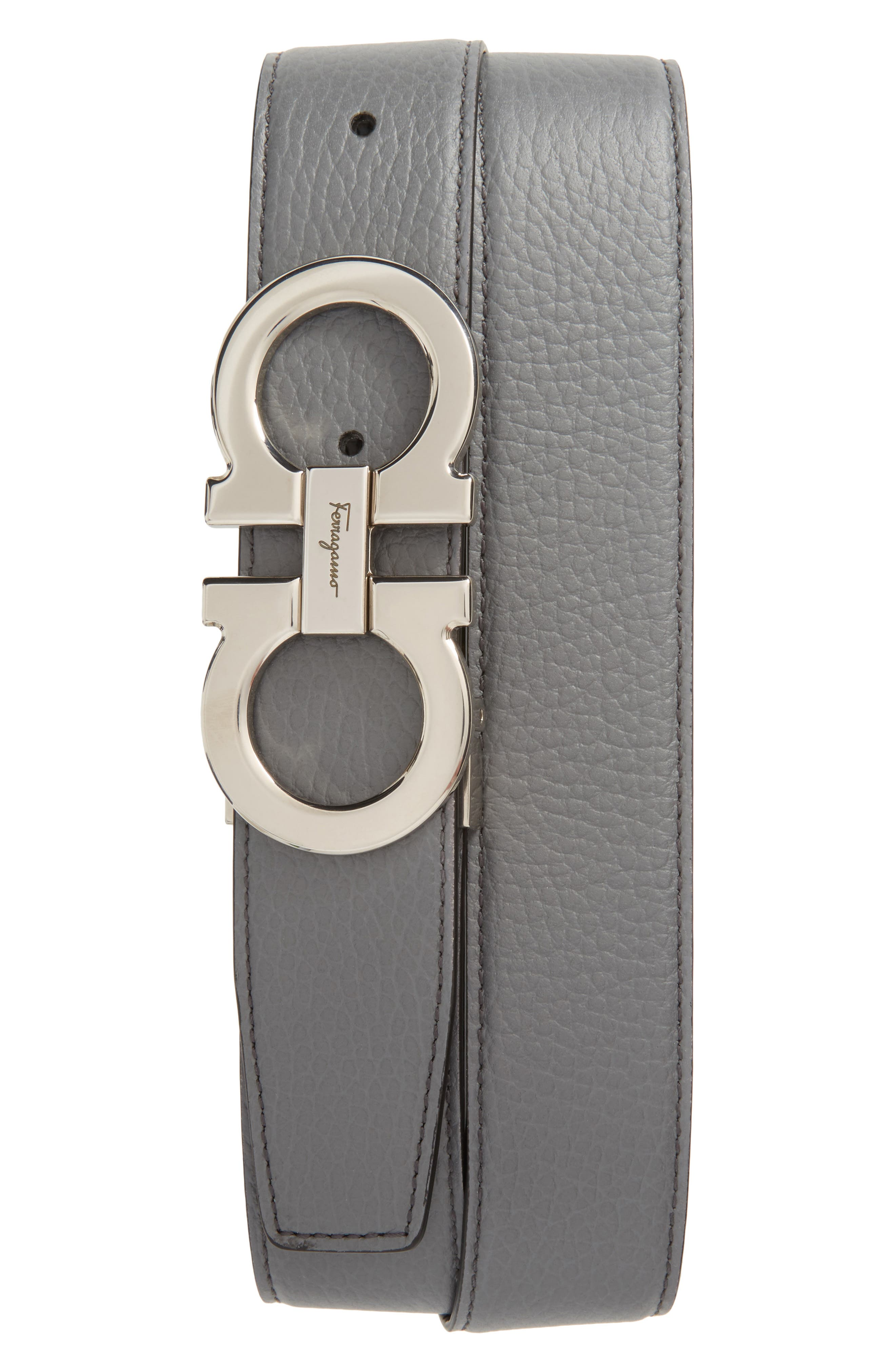 Faceted Double Gancio Reversible Leather Belt,                             Main thumbnail 1, color,                             Grey/ Black