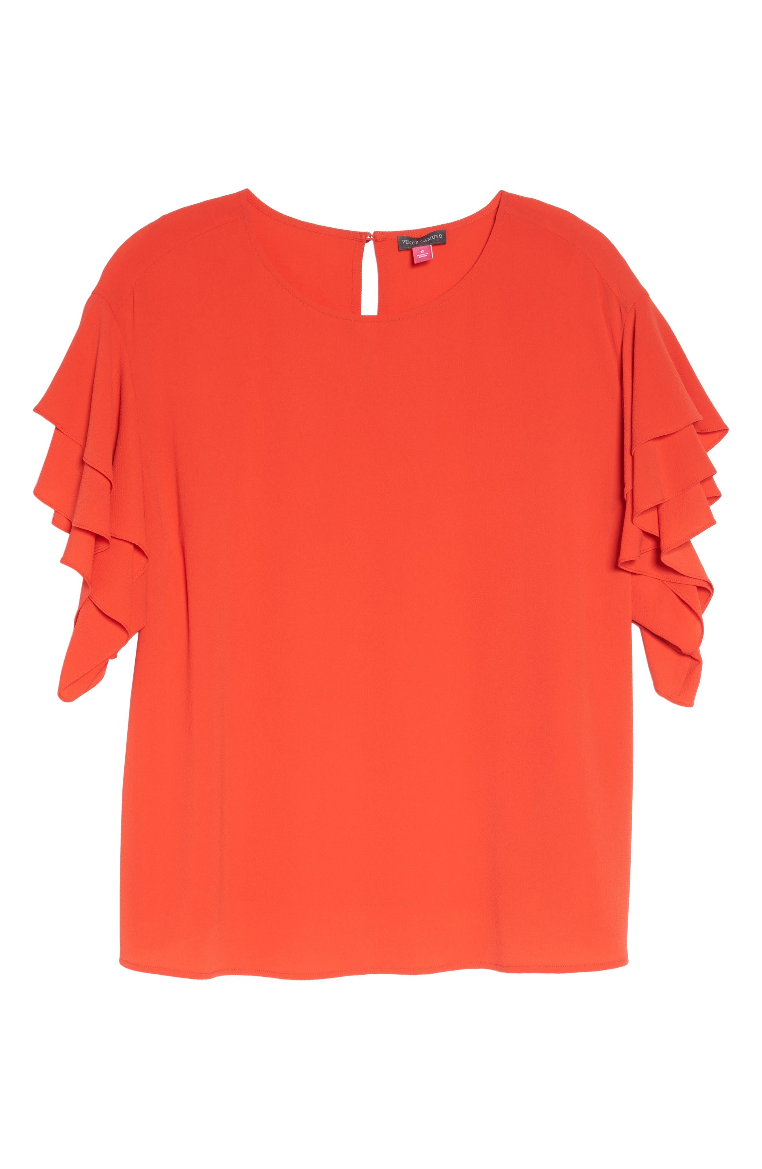 Tiered Ruffle Sleeve Top,                             Alternate thumbnail 6, color,                             Geranium