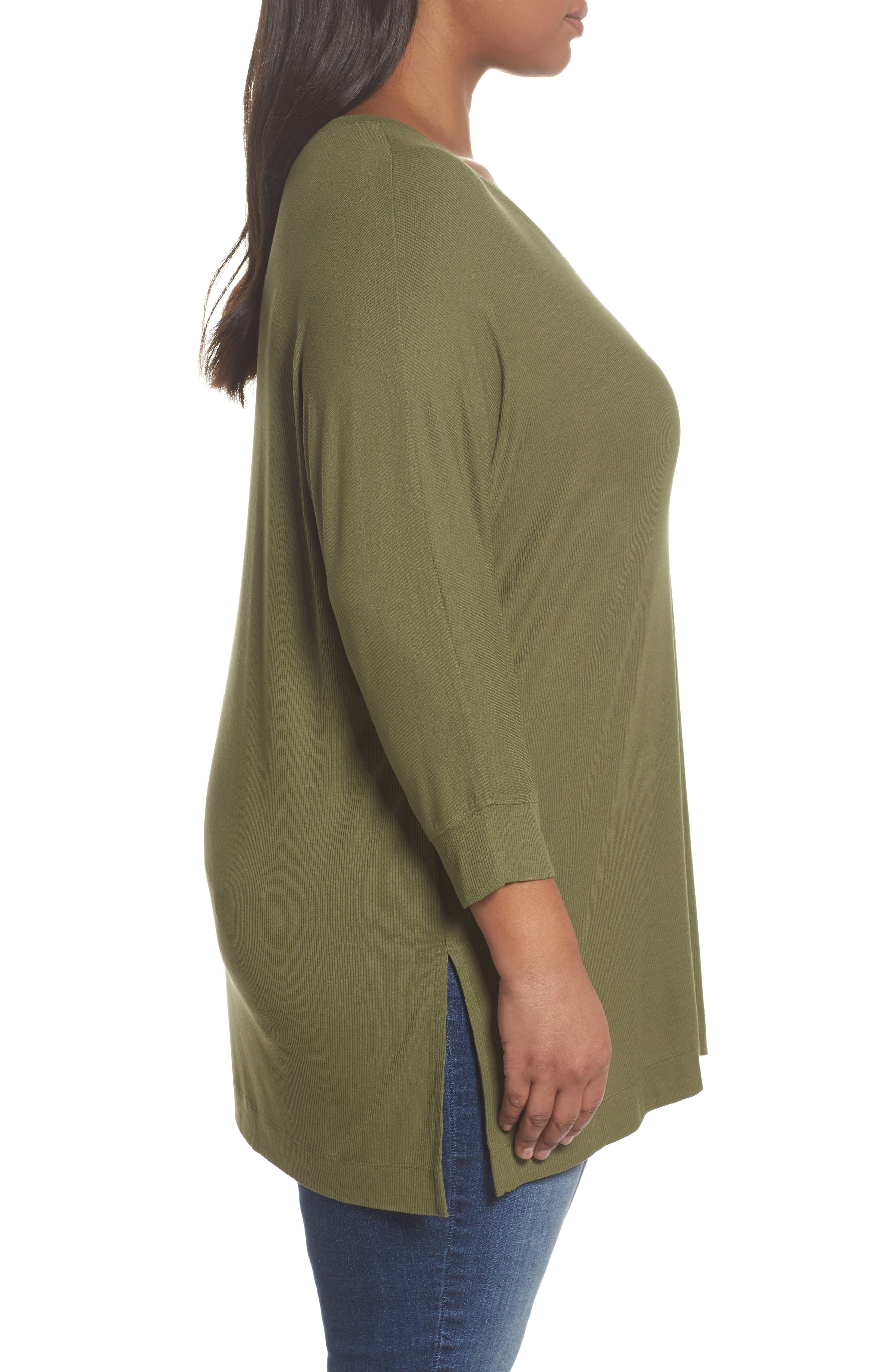 V-Neck Tunic Top,                             Alternate thumbnail 3, color,                             Olive Moss