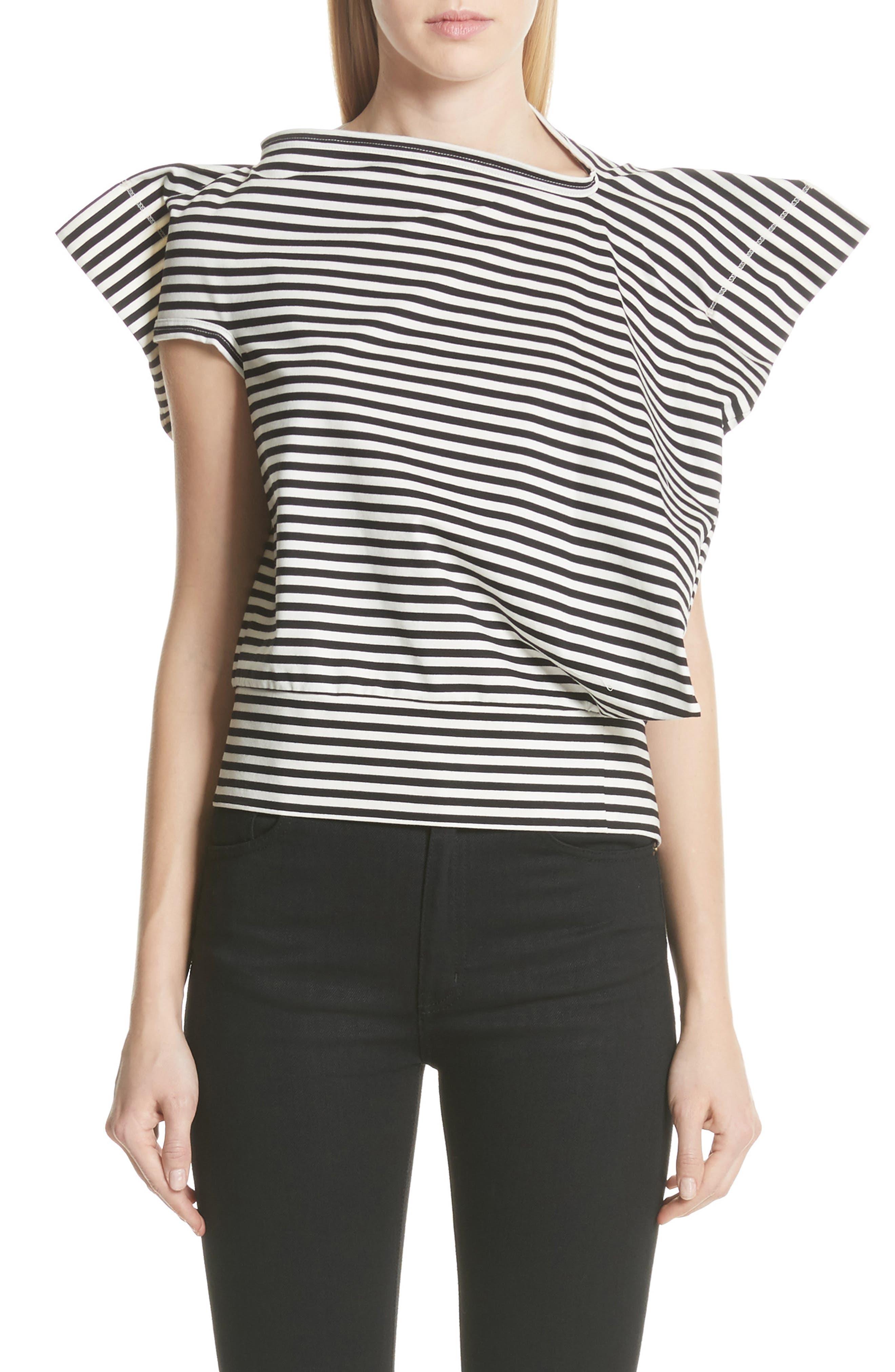Stripe Top,                             Main thumbnail 1, color,                             Black/ Off White