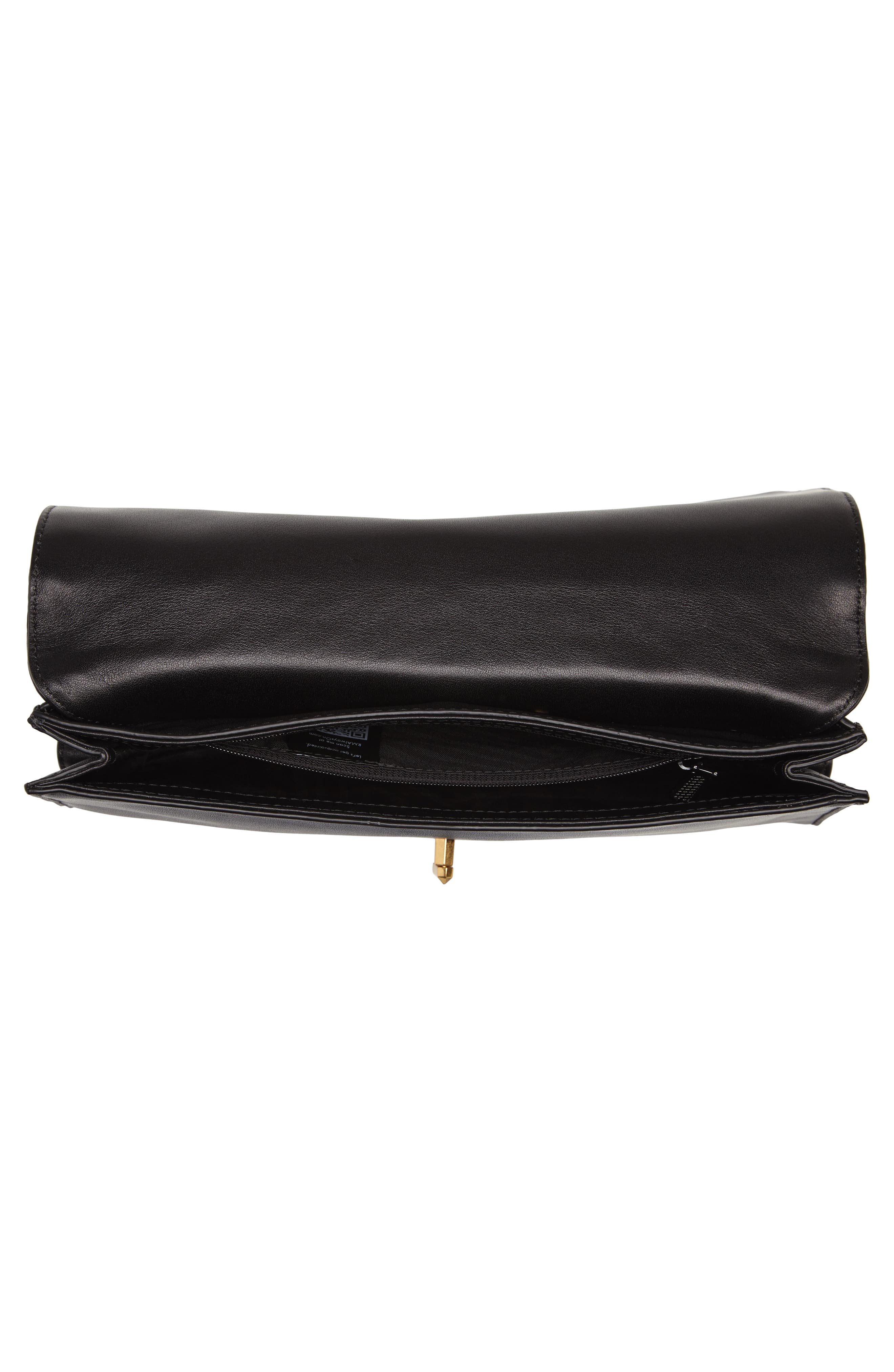 Becky Quilted Leather Clutch,                             Alternate thumbnail 4, color,                             Black