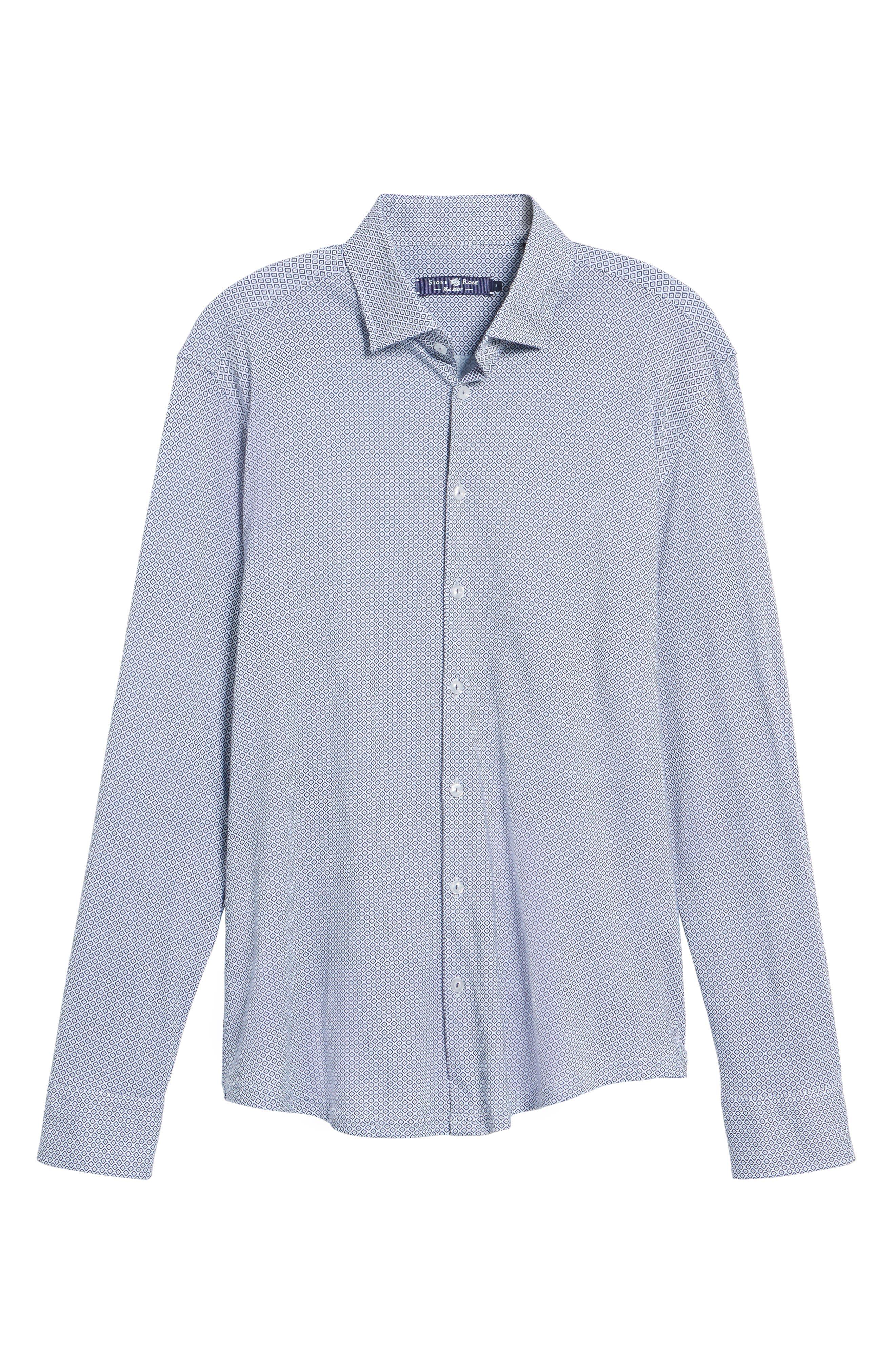 Diamond Print Knit Sport Shirt,                             Alternate thumbnail 6, color,                             White
