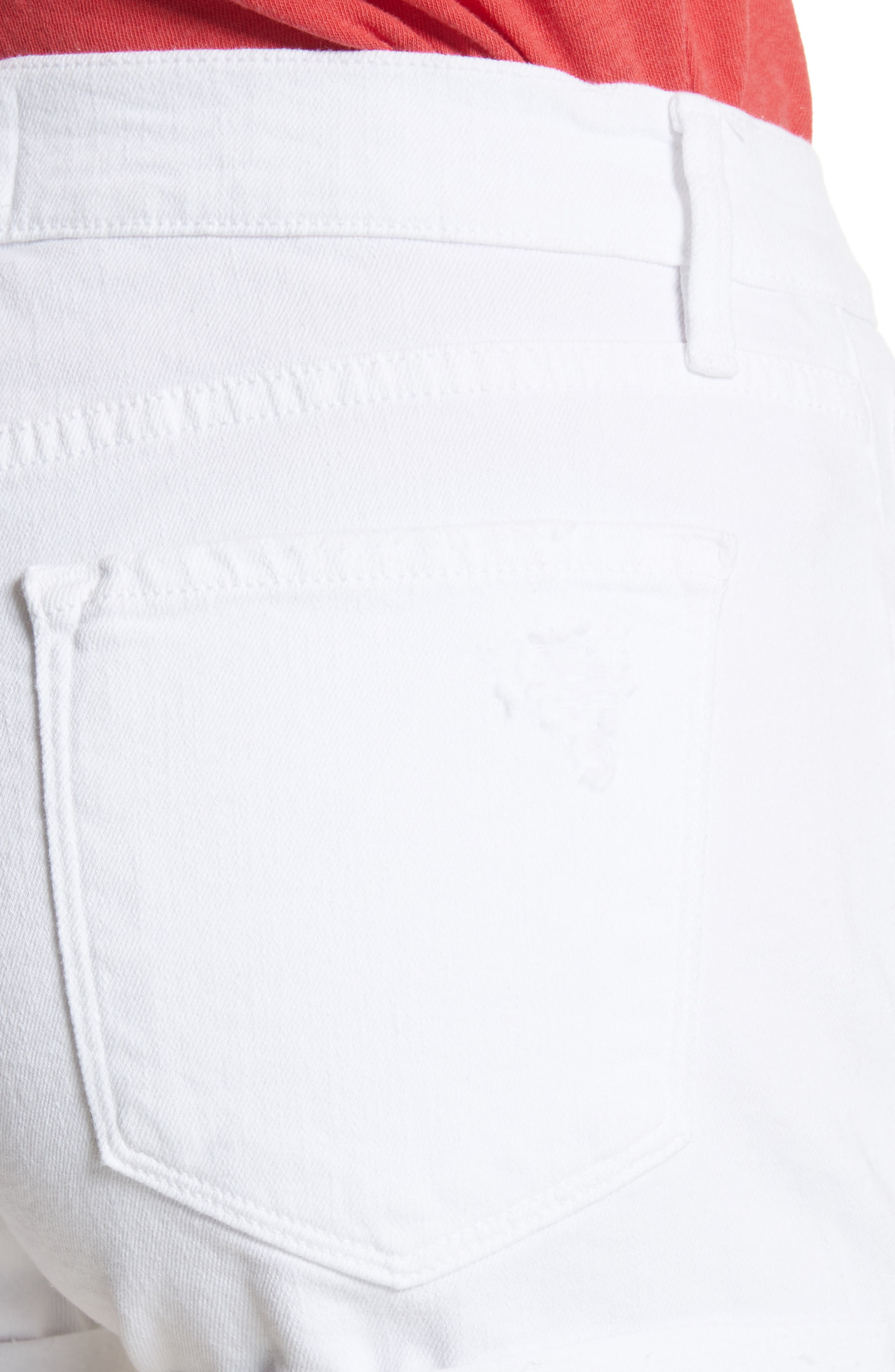 Le Cutoff Cuffed Jean Shorts,                             Alternate thumbnail 4, color,                             Blanc Rookley