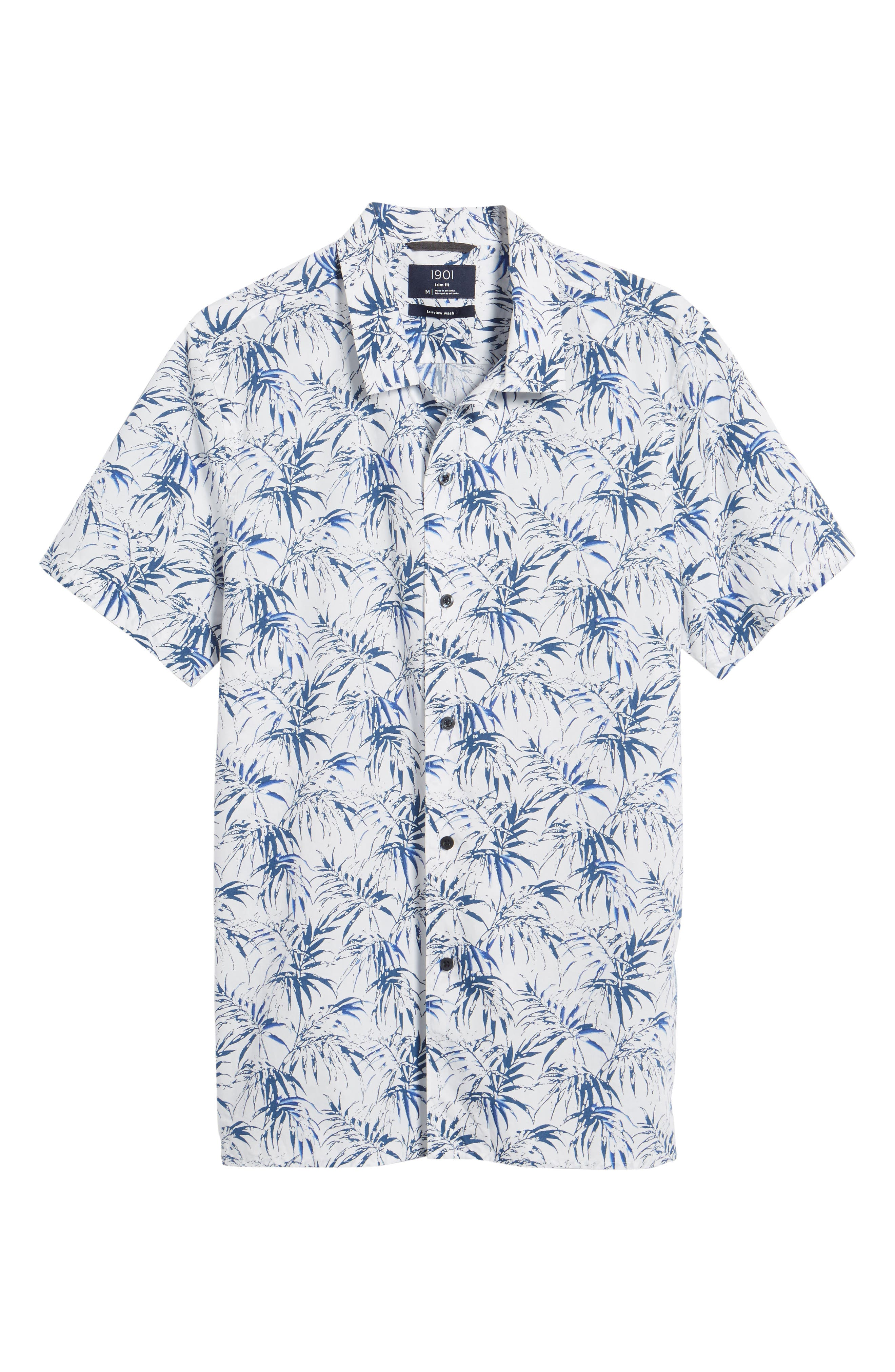 Trim Fit Palm Print Camp Shirt,                             Alternate thumbnail 6, color,                             White Navy Stamped Palms