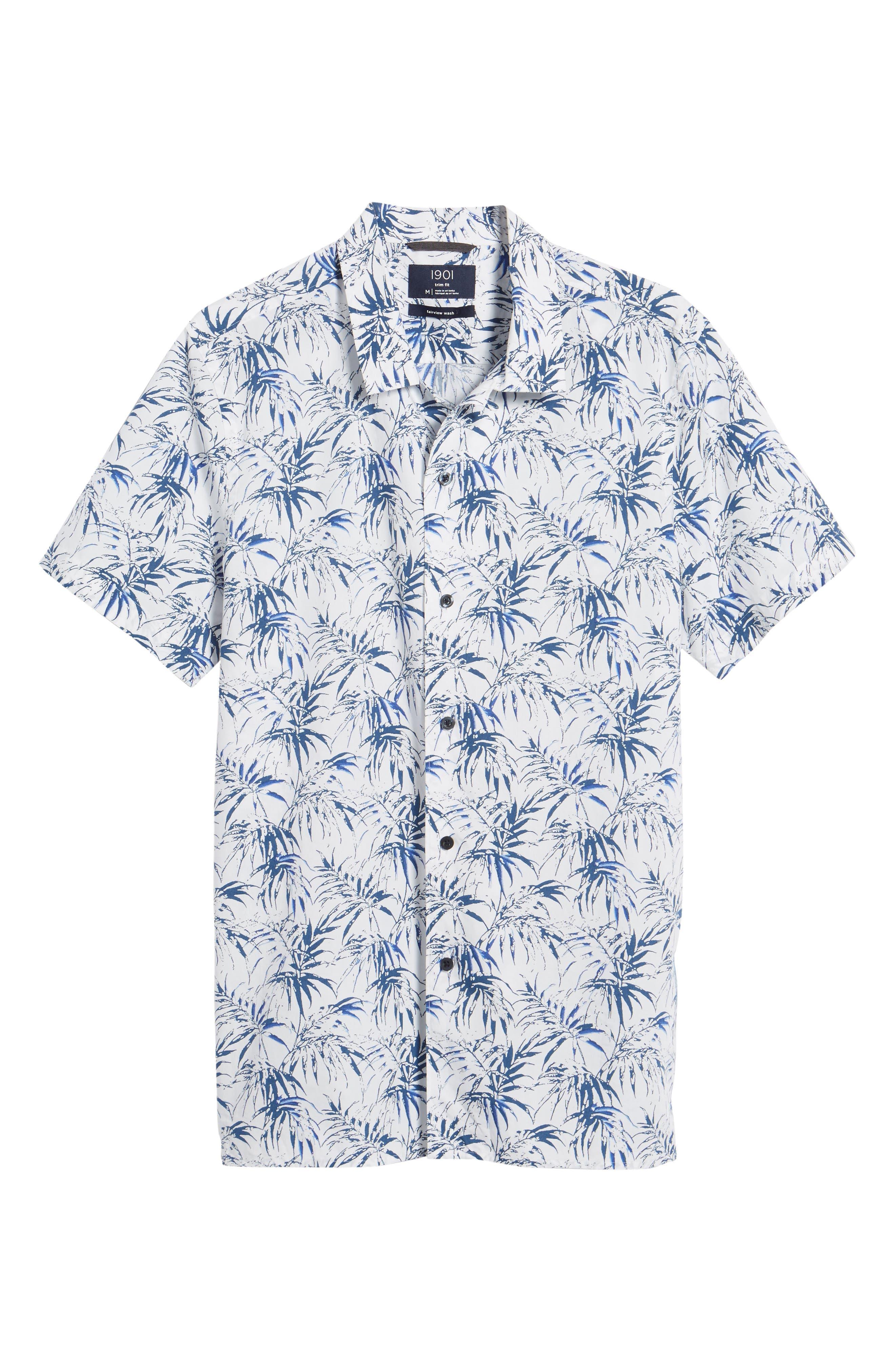Alternate Image 6  - 1901 Trim Fit Palm Print Camp Shirt