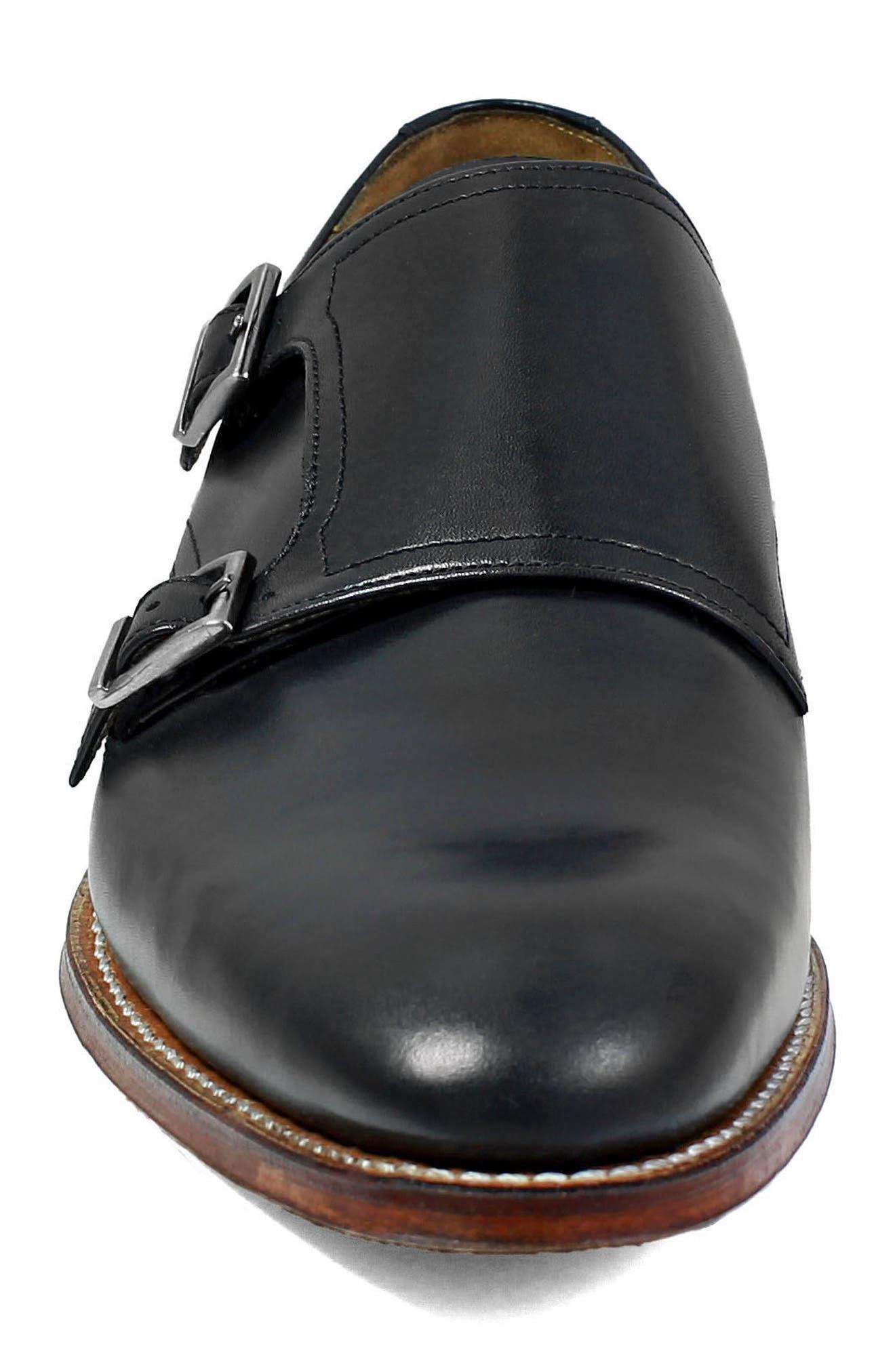 M2 Plain Toe Double Strap Monk Shoe,                             Alternate thumbnail 4, color,                             Black Leather