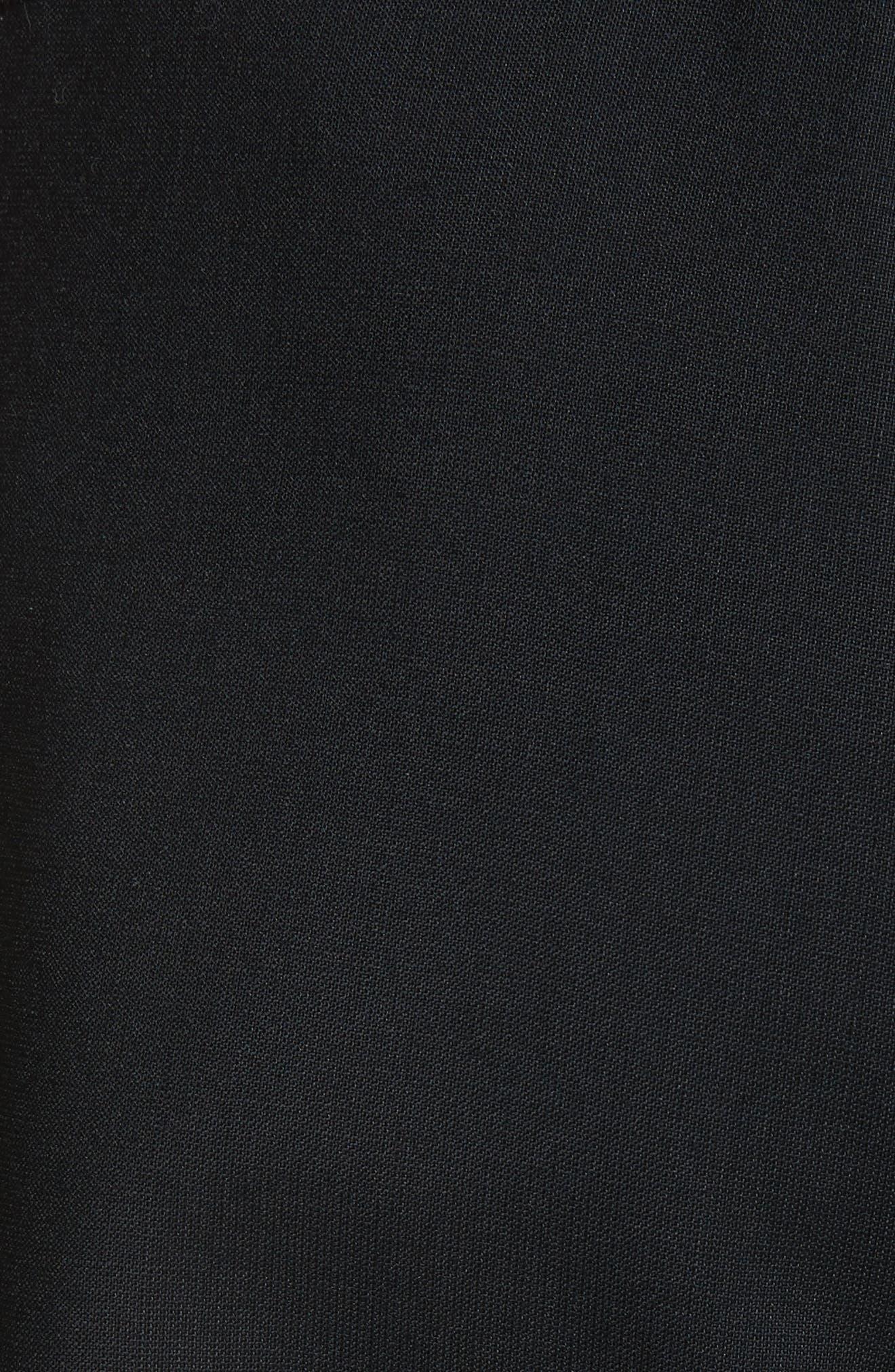 Adjustable Hem Wool & Silk Pants,                             Alternate thumbnail 4, color,                             Black